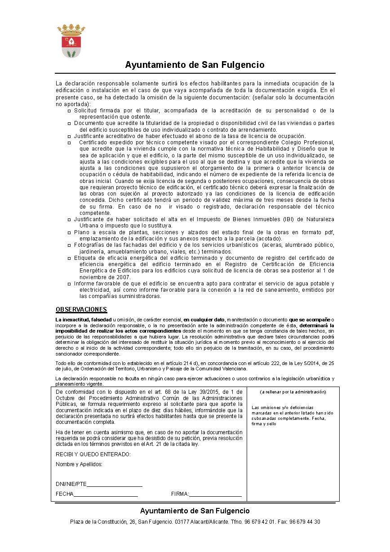 Impreso Declaración Responsable Segunda Ocupación San Fulgencio
