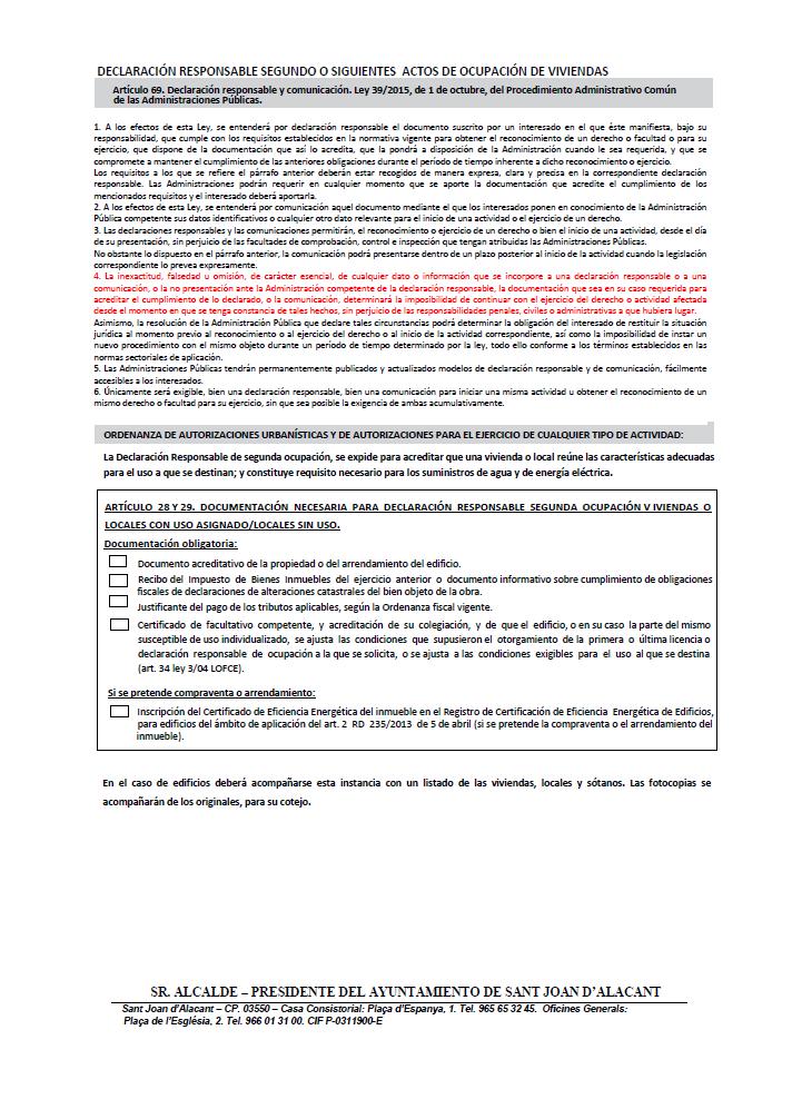 Impreso Declaración Responsable Segunda Ocupación San Juan de Alicante - Sant Joan d´Alacant - Vivienda