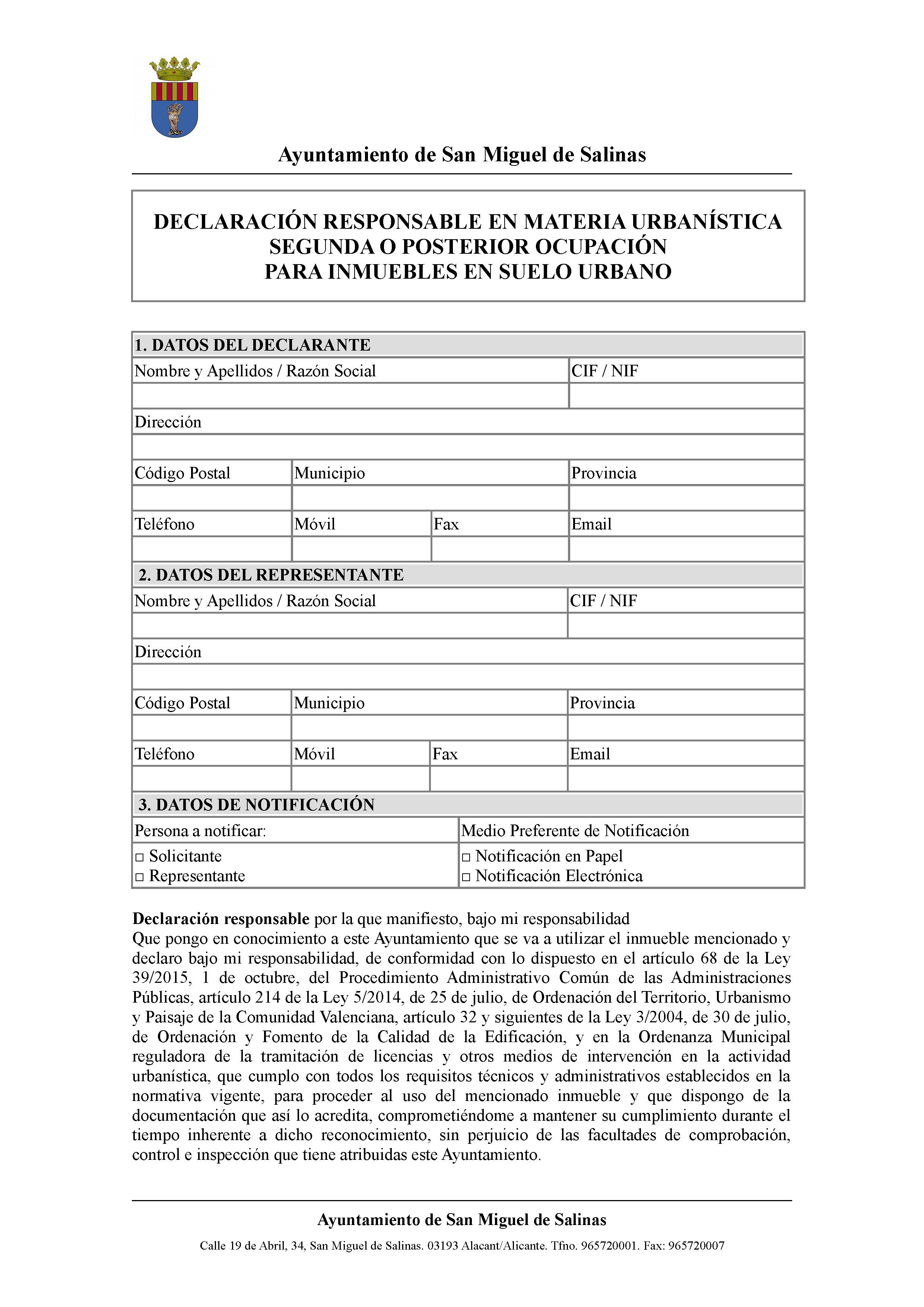 Impreso Declaración Responsable Segunda Ocupación San Miguel de Salinas