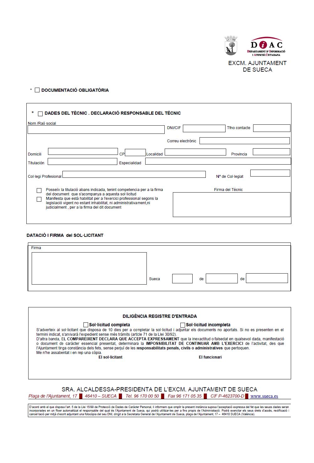 Impreso Declaración Responsable Segunda Ocupación Sueca
