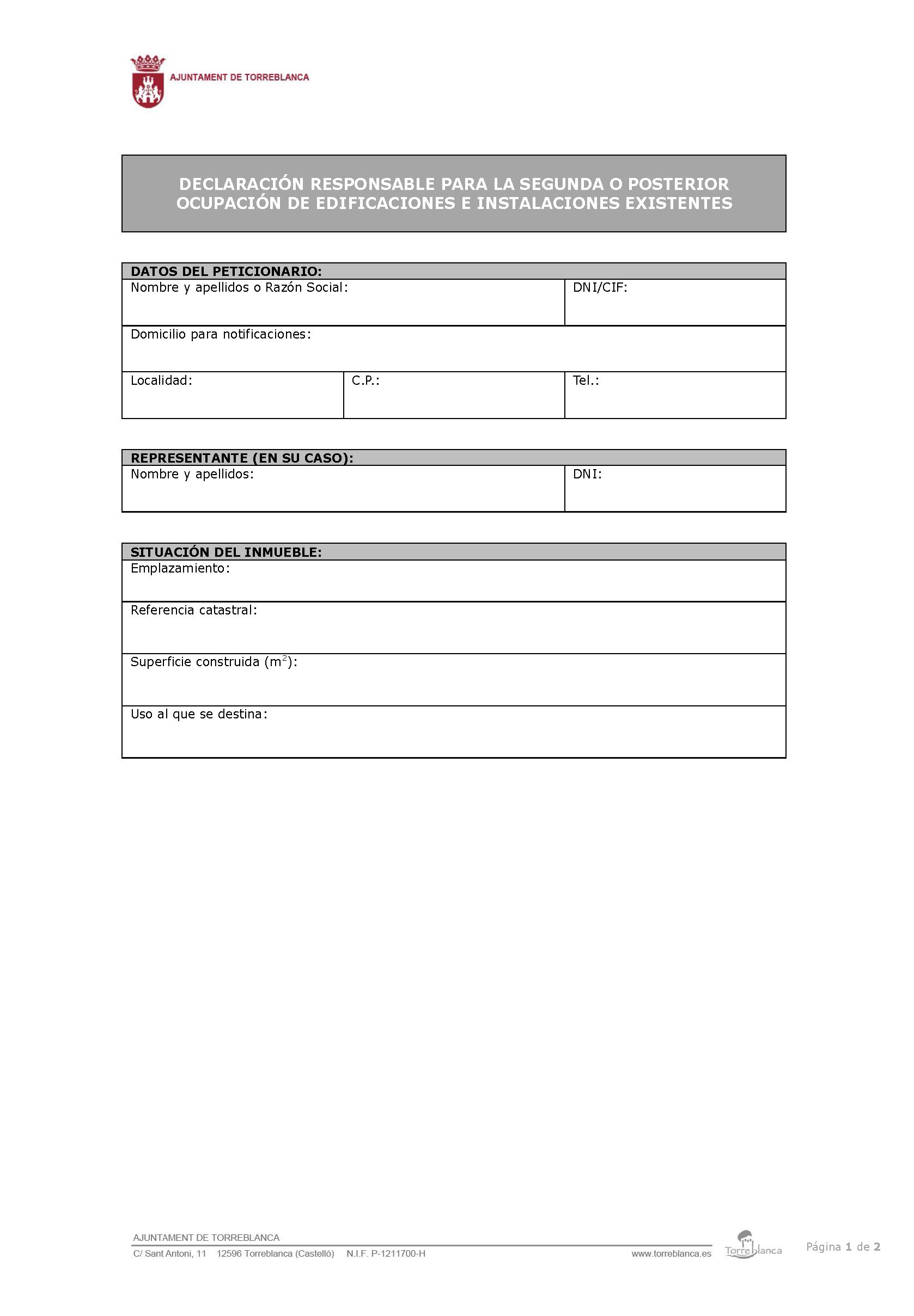 Impreso Declaración Responsable Segunda Ocupación Torreblanca