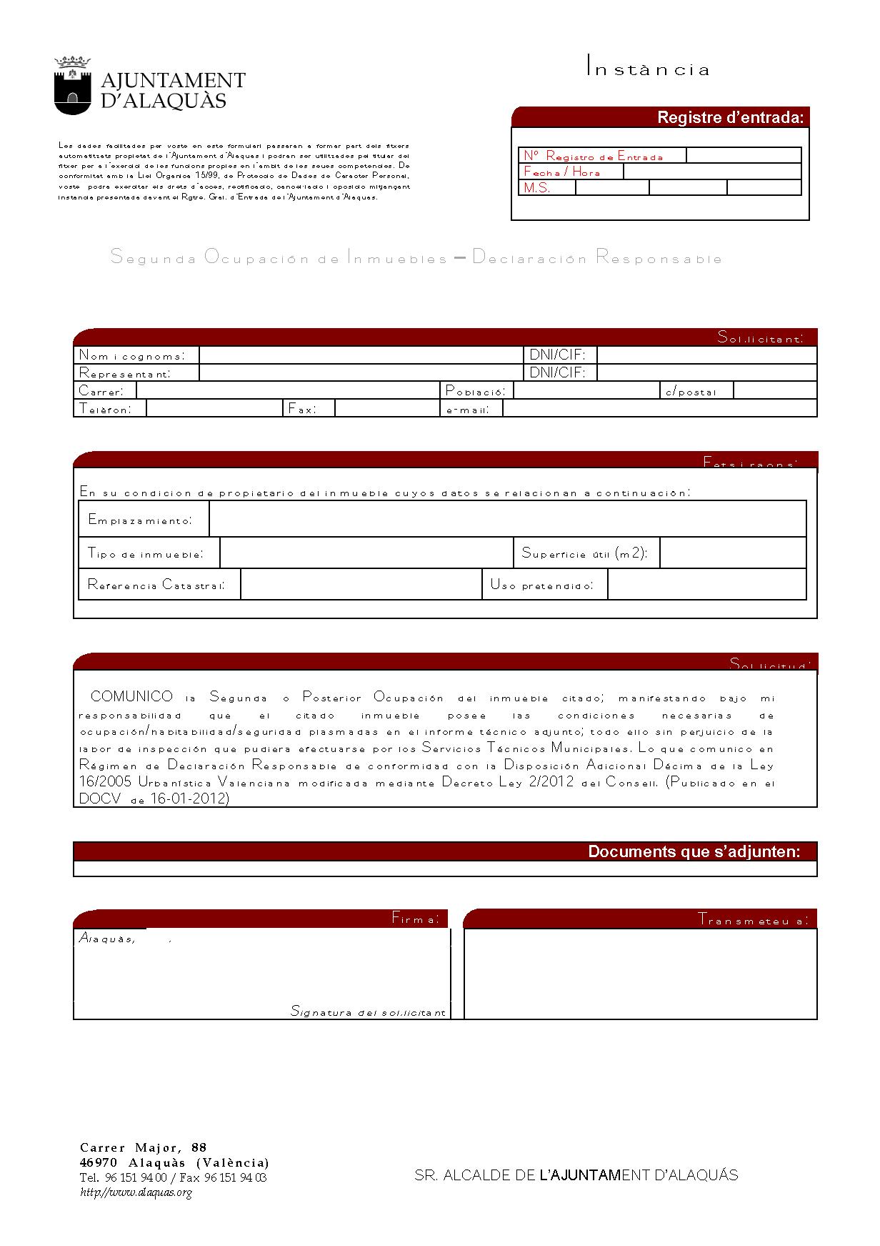 Impreso Declaración Responsable Segunda Ocupación Alaquàs