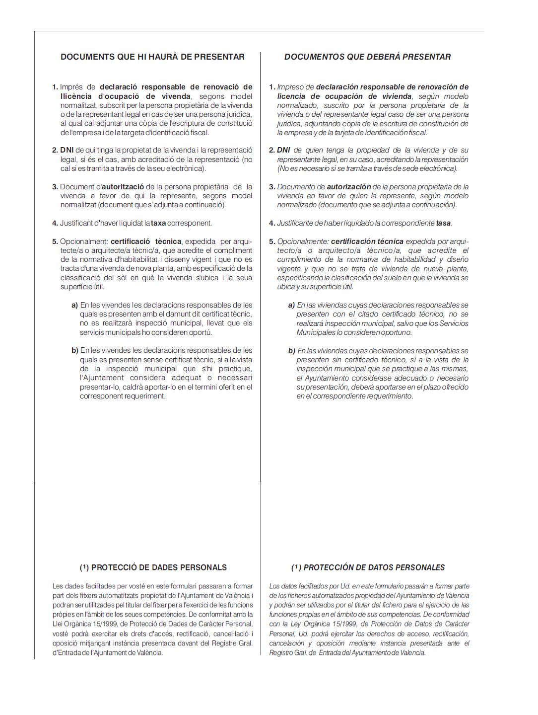 Impreso Declaración Responsable Segunda Ocupación Valencia