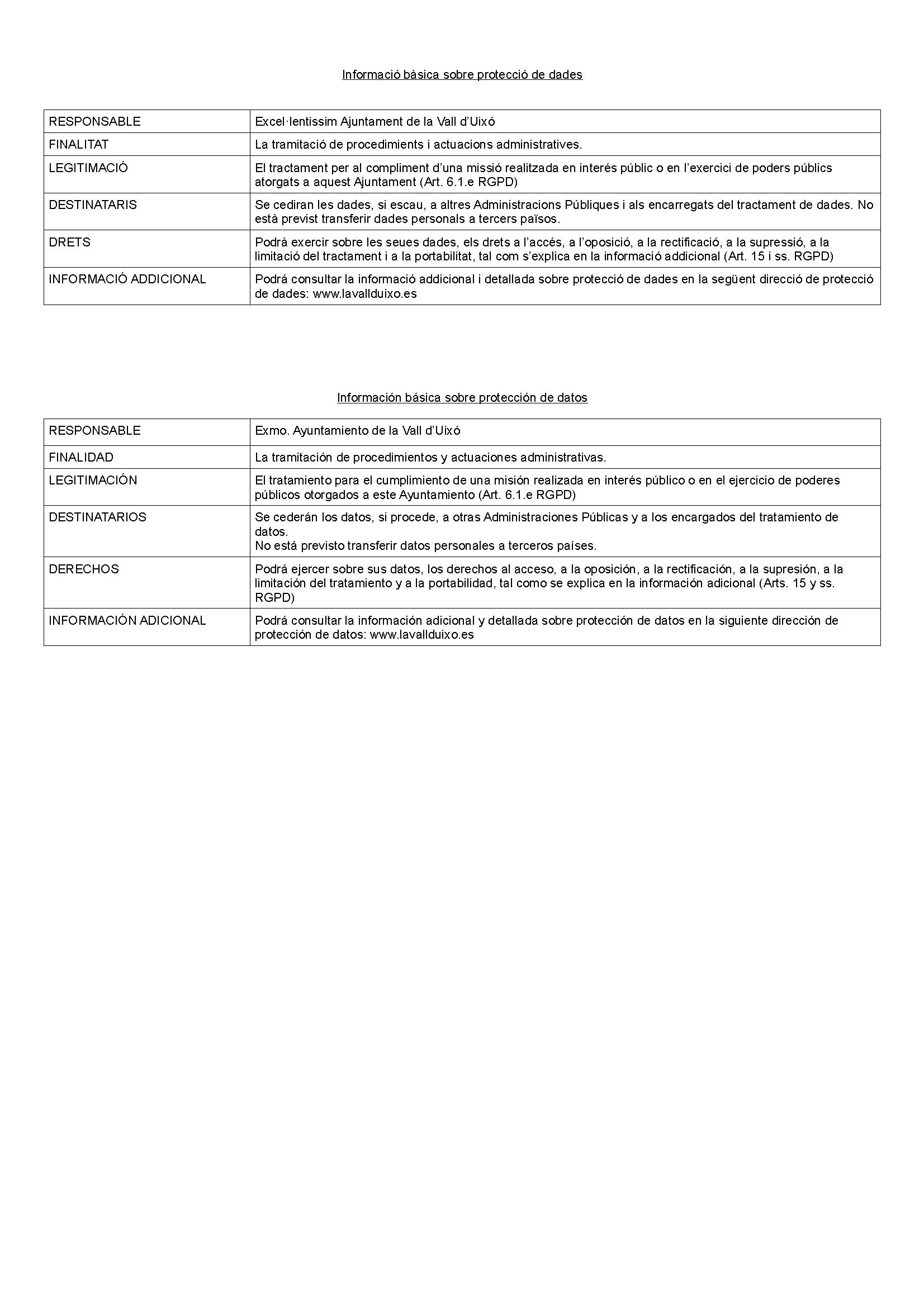 Impreso Declaración Responsable Segunda Ocupación Vall d´Uixó