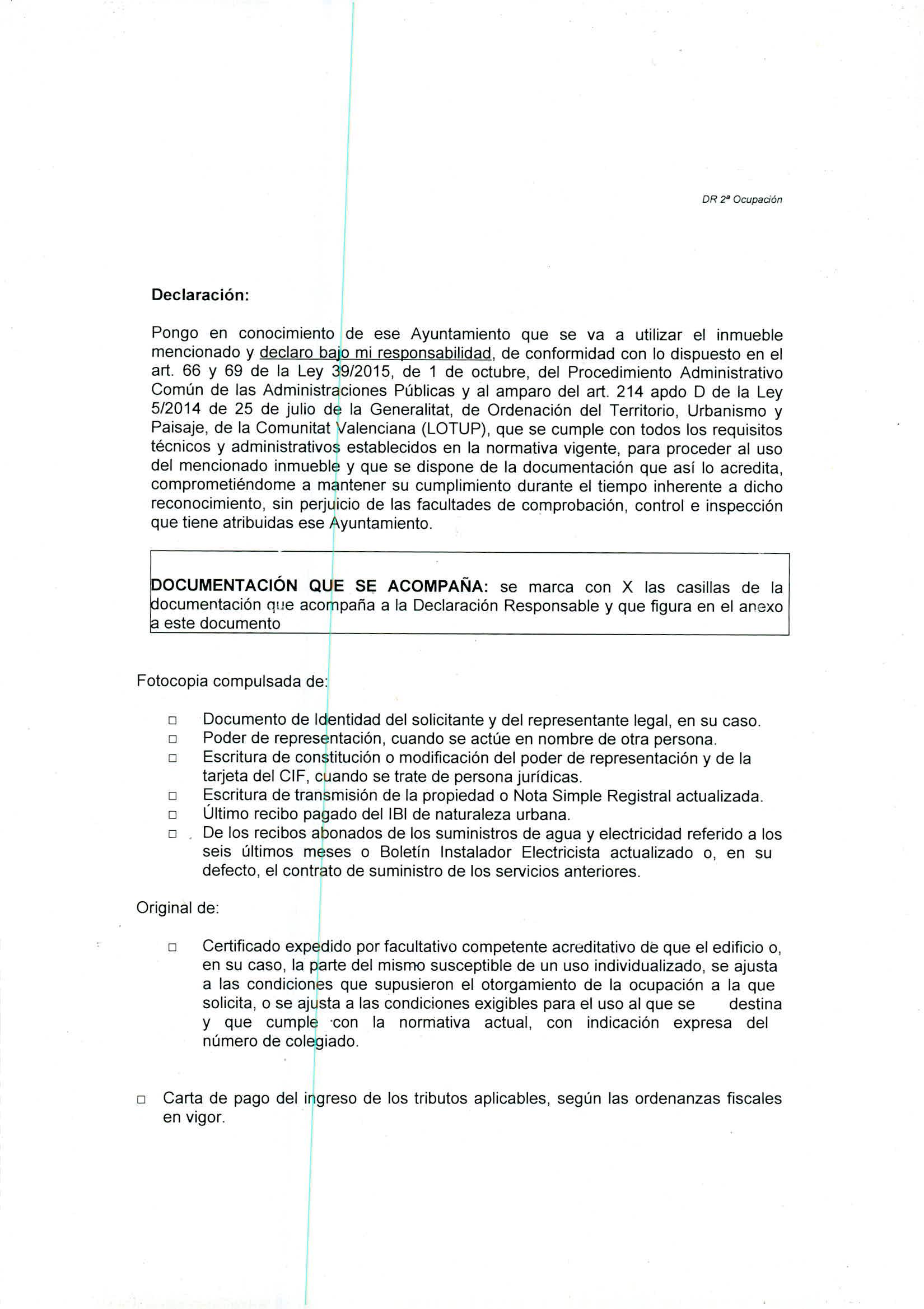 Impreso Declaración Responsable Segunda Ocupación Vinaròs