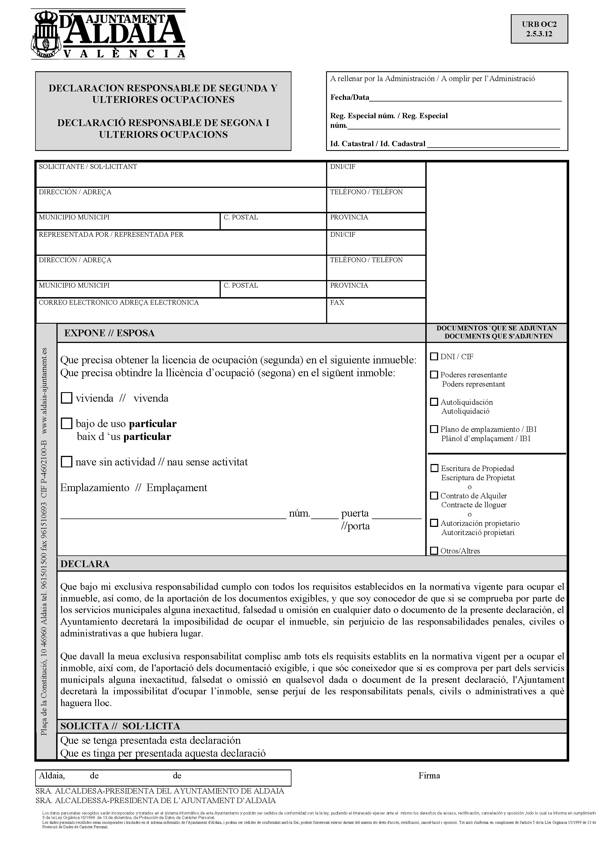 Impreso Declaración Responsable Segunda Ocupación Aldaya/Aldaia