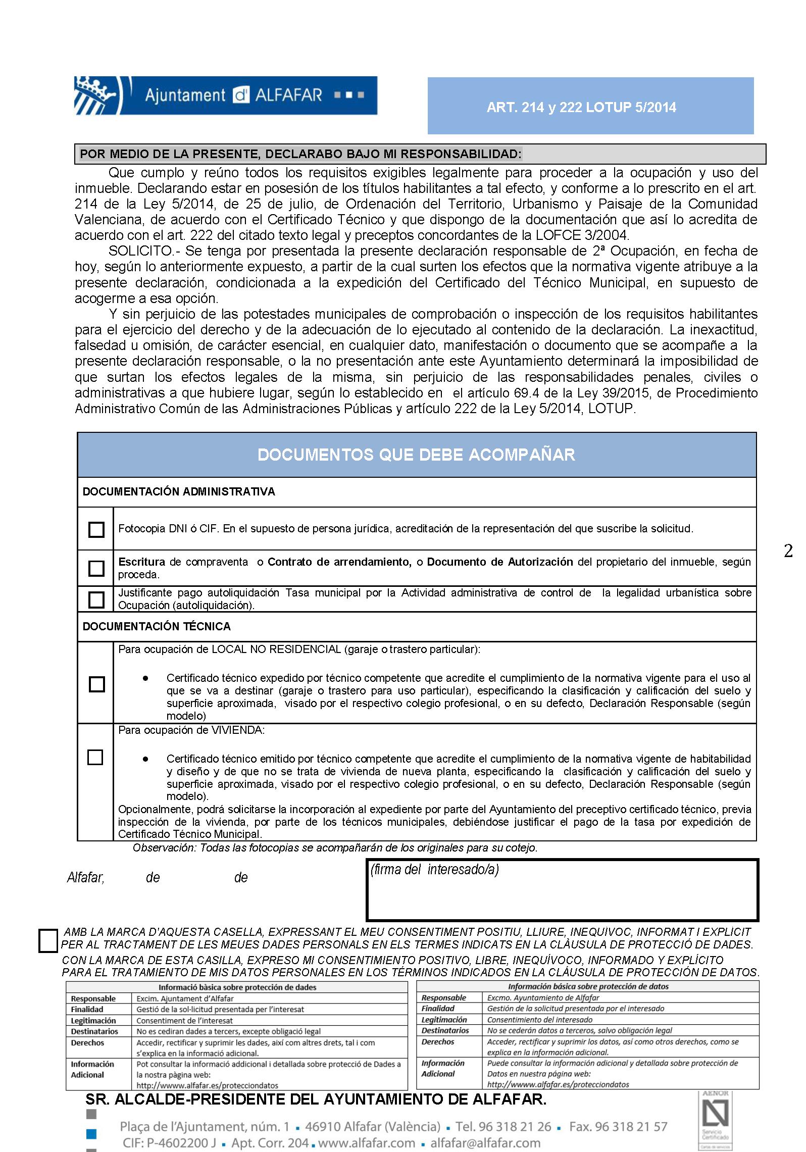 Impreso Declaración Responsable Segunda Ocupación Alfafar