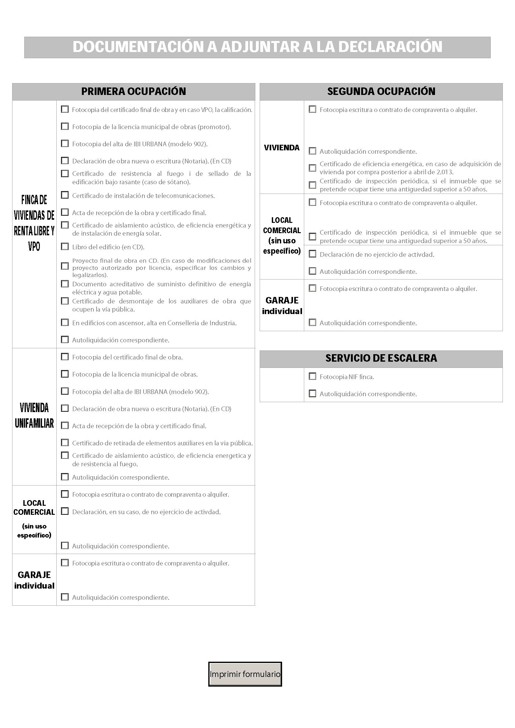 Impreso Declaración Responsable Segunda Ocupación Algemesí