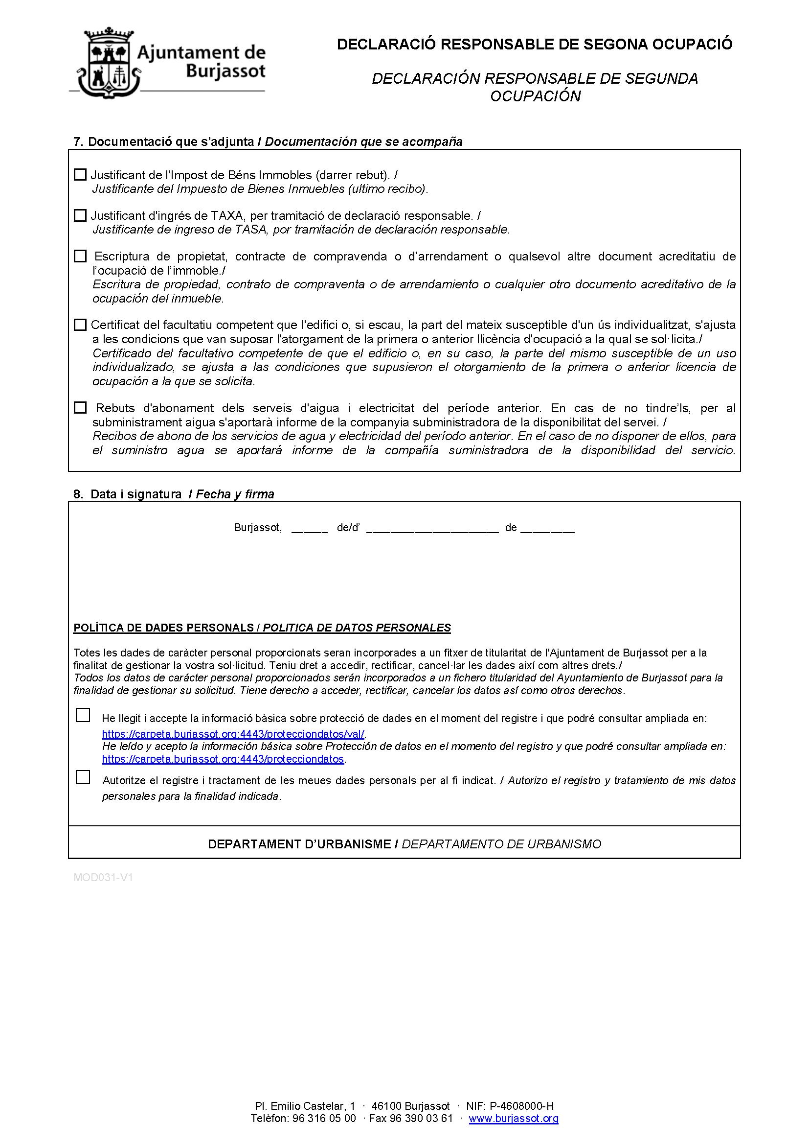 Impreso Declaración Responsable Segunda Ocupación - Burjassot