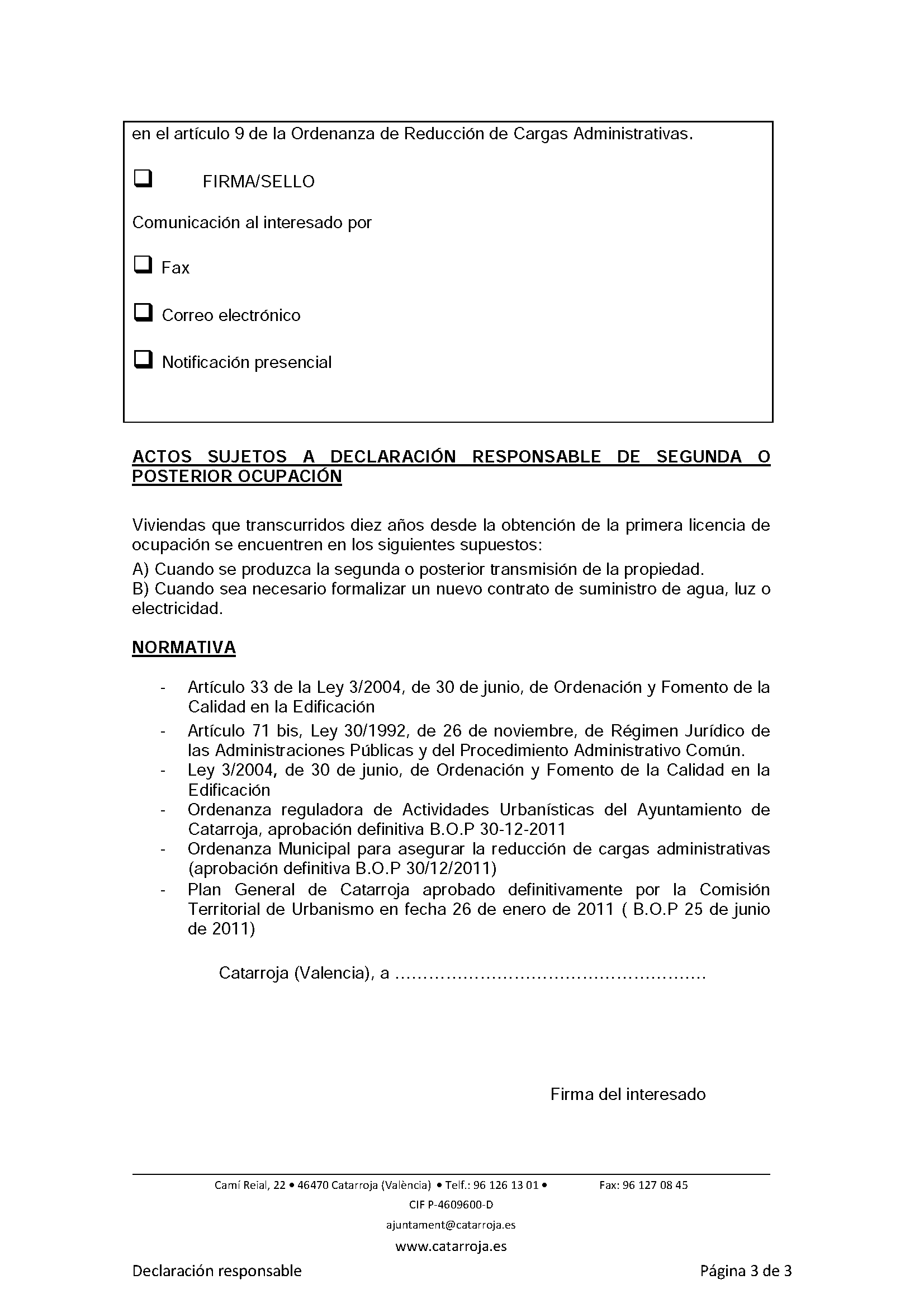 Impreso Declaración Responsable Segunda Ocupación Catarroja