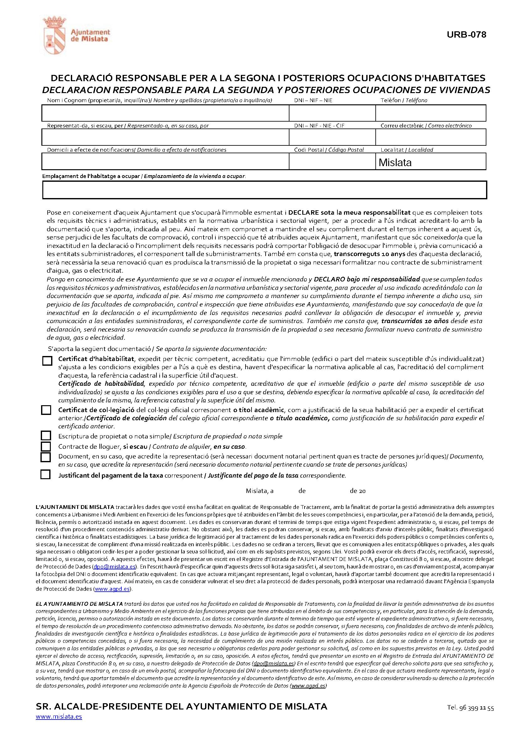 Impreso Declaración Responsable Segunda Ocupación Mislata
