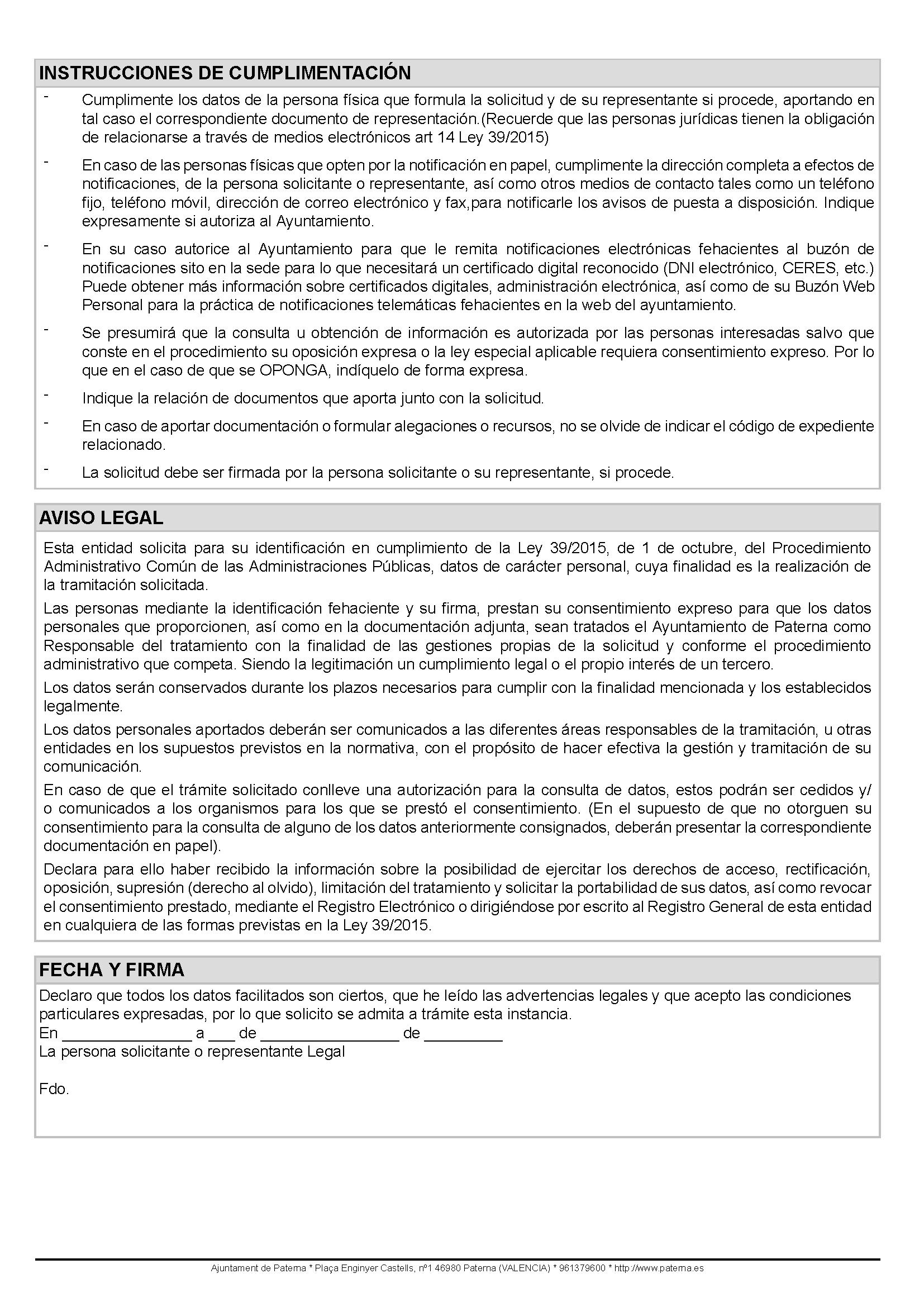 Impreso Declaración Responsable Segunda Ocupación Paterna