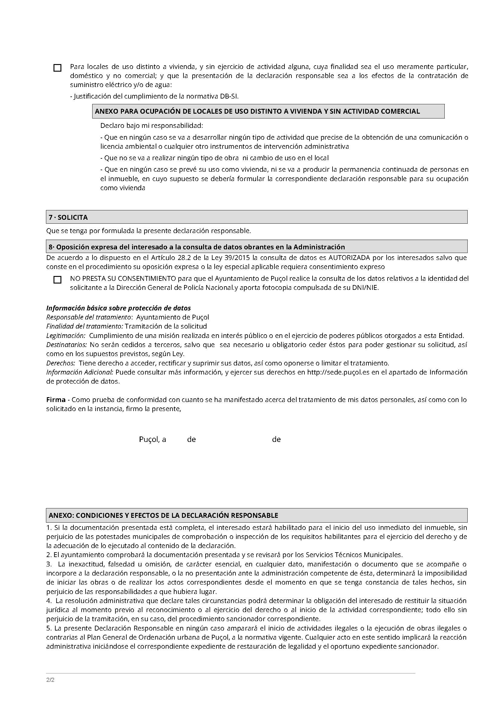 Impreso Declaración Responsable Segunda Ocupación Puzol/Puçol