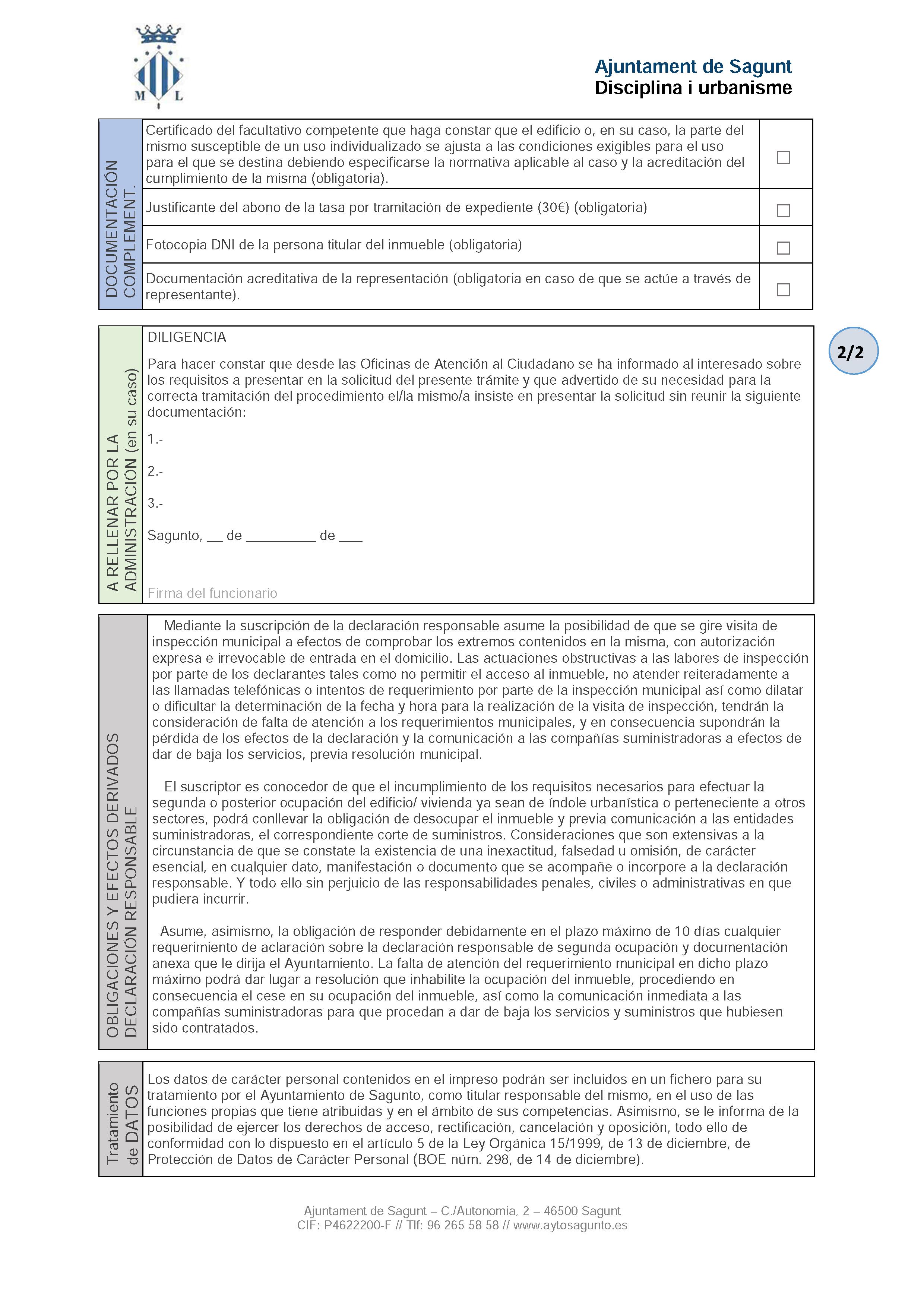 Impreso Declaración Responsable Segunda Ocupación Sagunto/Sagunt