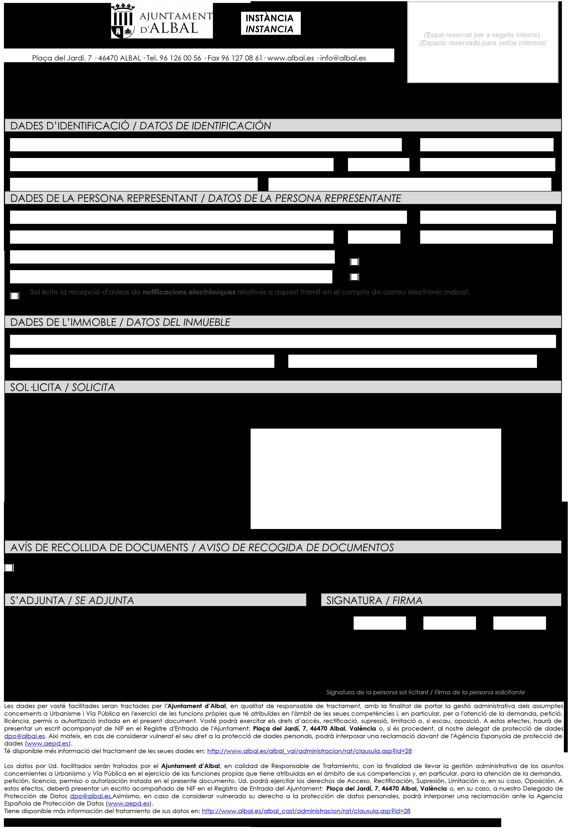 Impreso Declaración Responsable Segunda Ocupación Albal