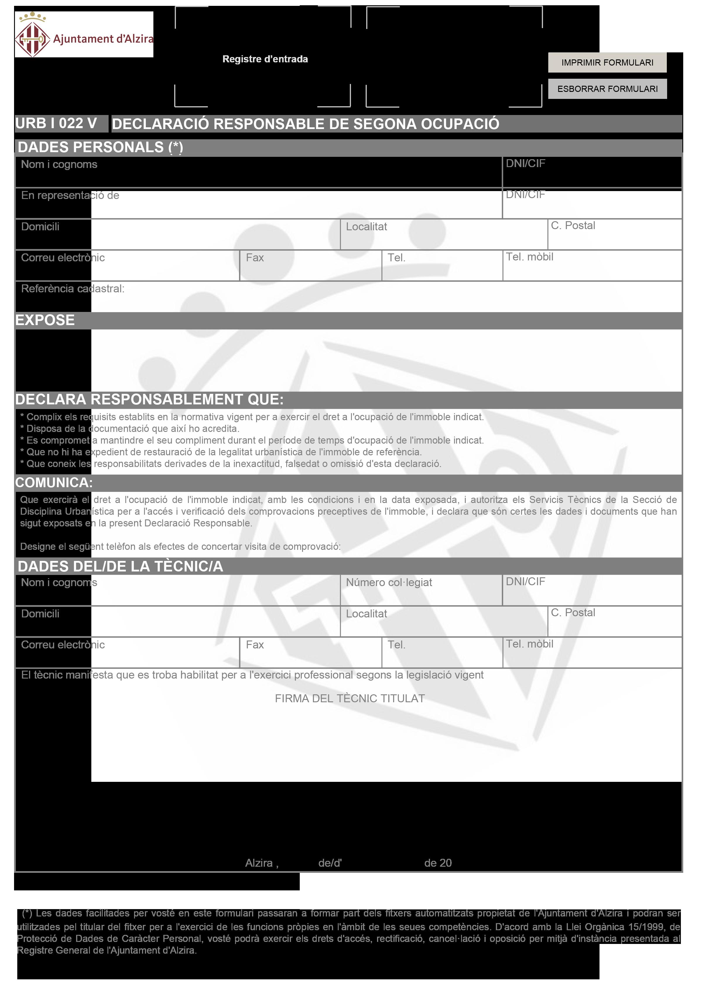 Impreso Declaración Responsable Segunda Ocupación Alcira/Alzira