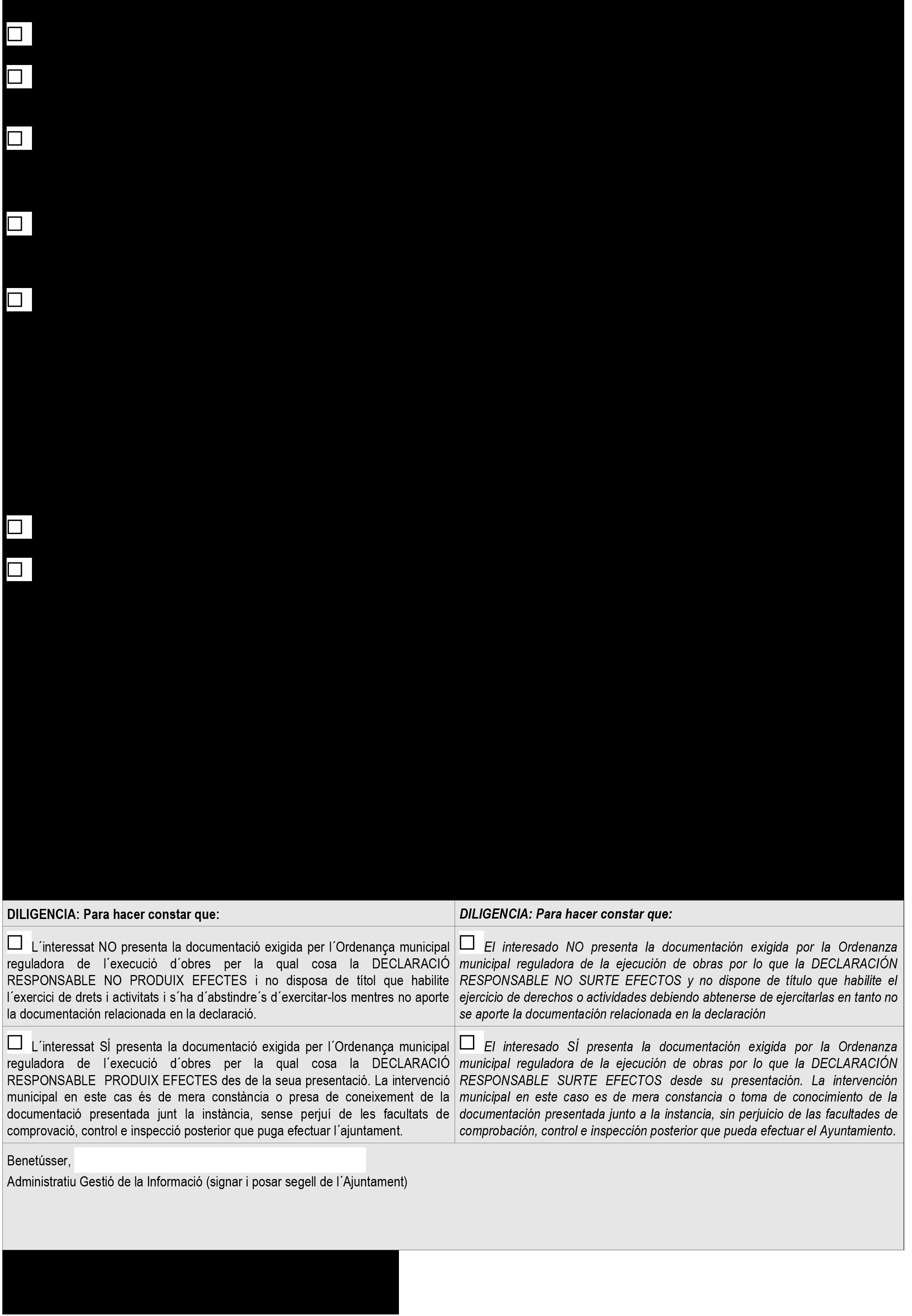 Impreso Declaración Responsable Segunda Ocupación Benetúser/Benetússer