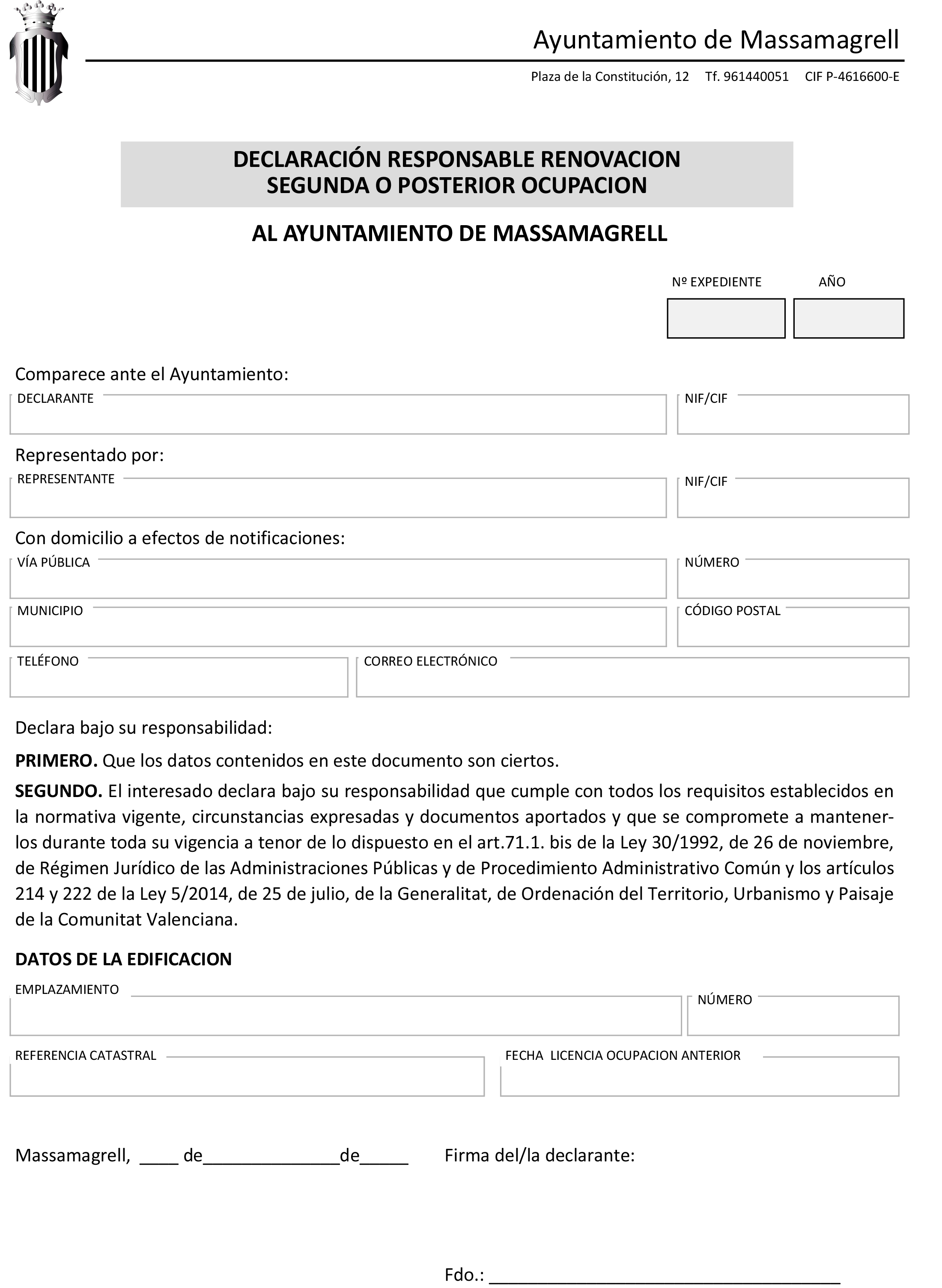 Impreso Declaración Responsable Segunda Ocupación Masamagrell/Massamagrell