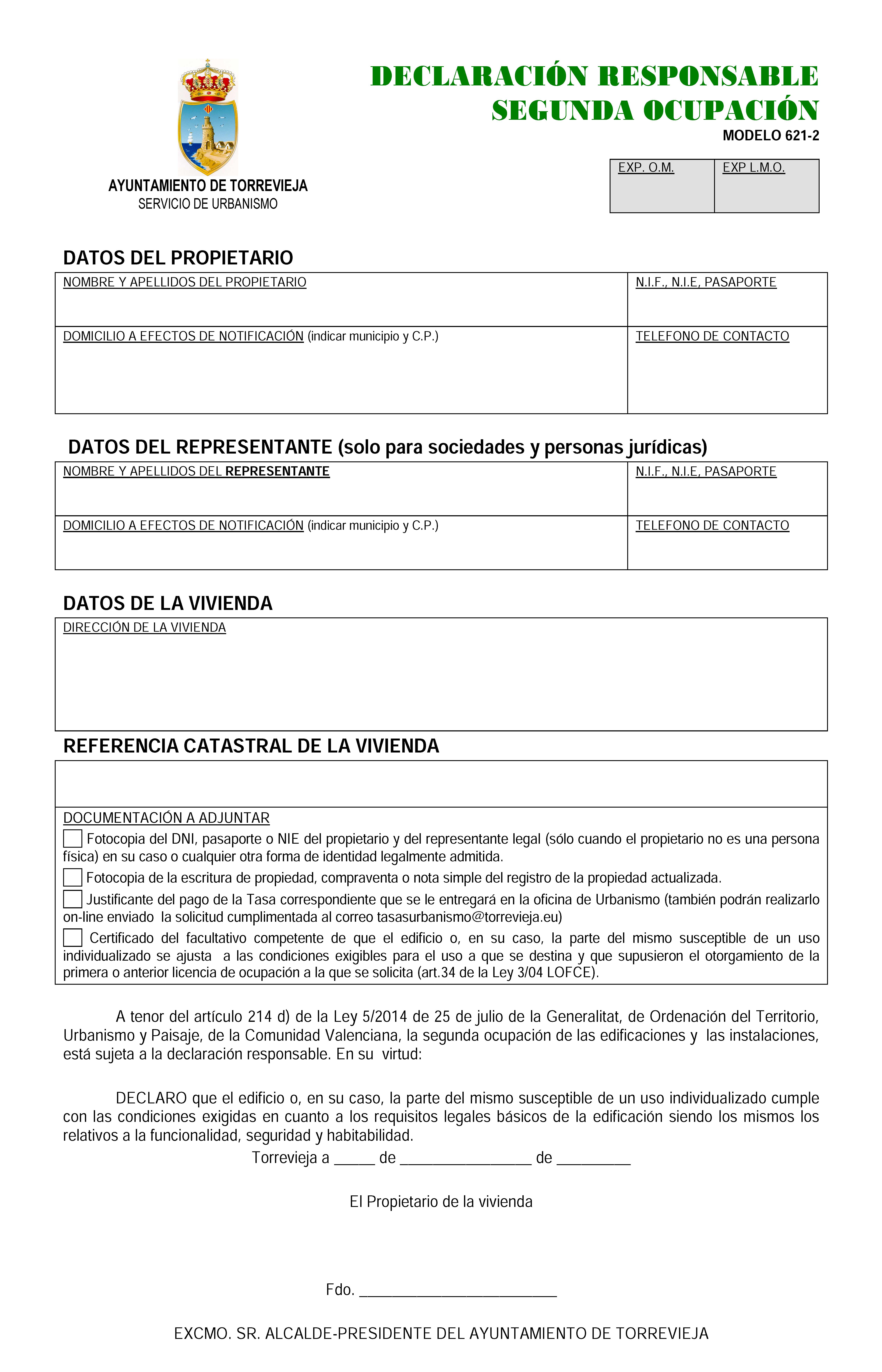 Impreso Declaración Responsable Segunda Ocupación Torrevieja