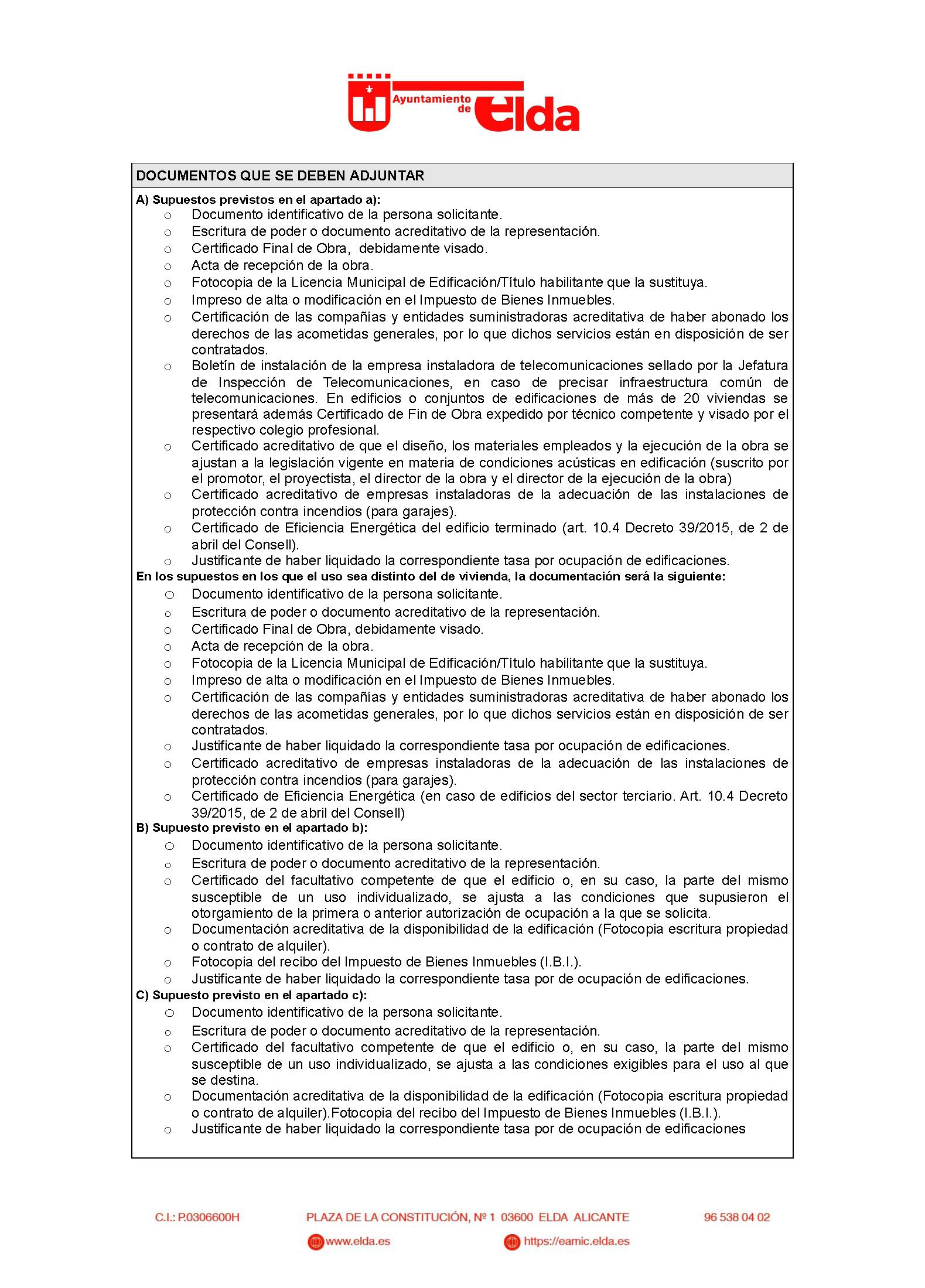 Impreso Declaración Responsable Segunda Ocupación Elda