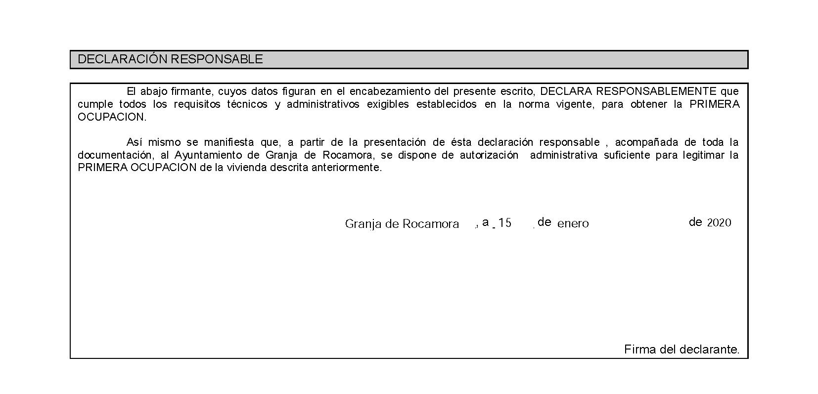 Impreso Declaración Responsable Segunda Ocupación Granja de Rocamora