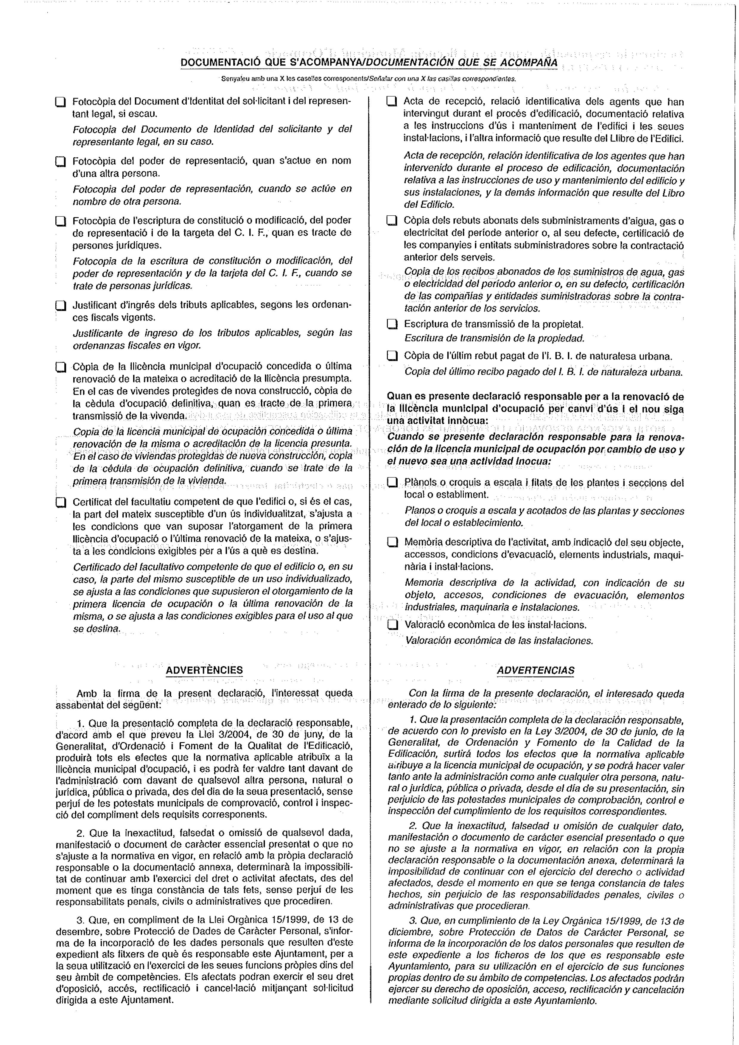 Impreso Declaración Responsable Segunda Ocupación - Alcalalí -2