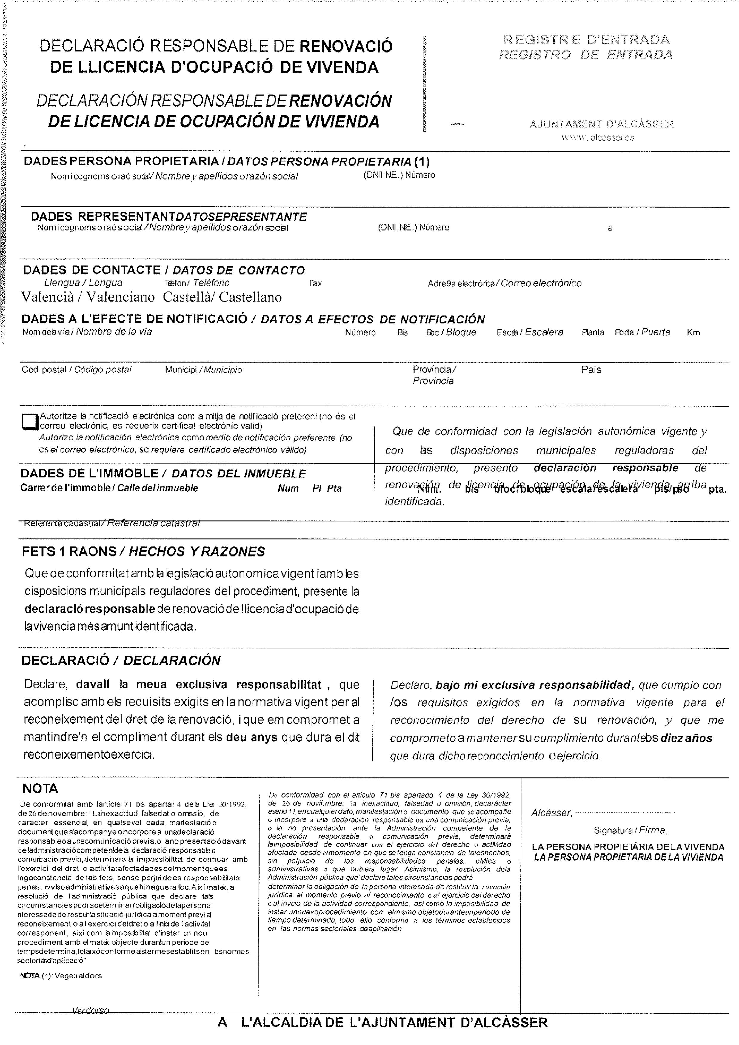 Impreso Declaración Responsable Segunda Ocupación - Alcasser 1
