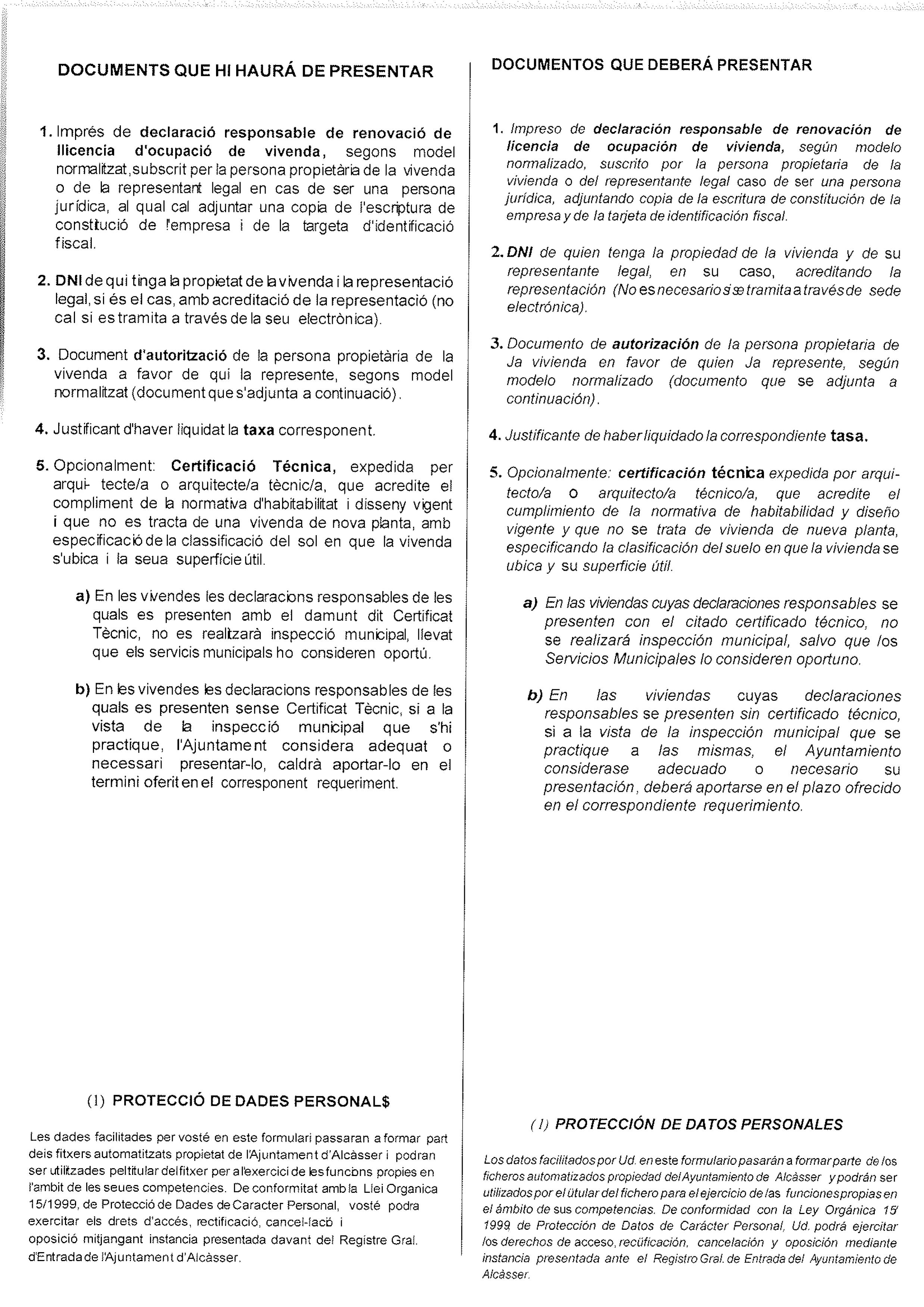 Impreso Declaración Responsable Segunda Ocupación - Alcasser 2