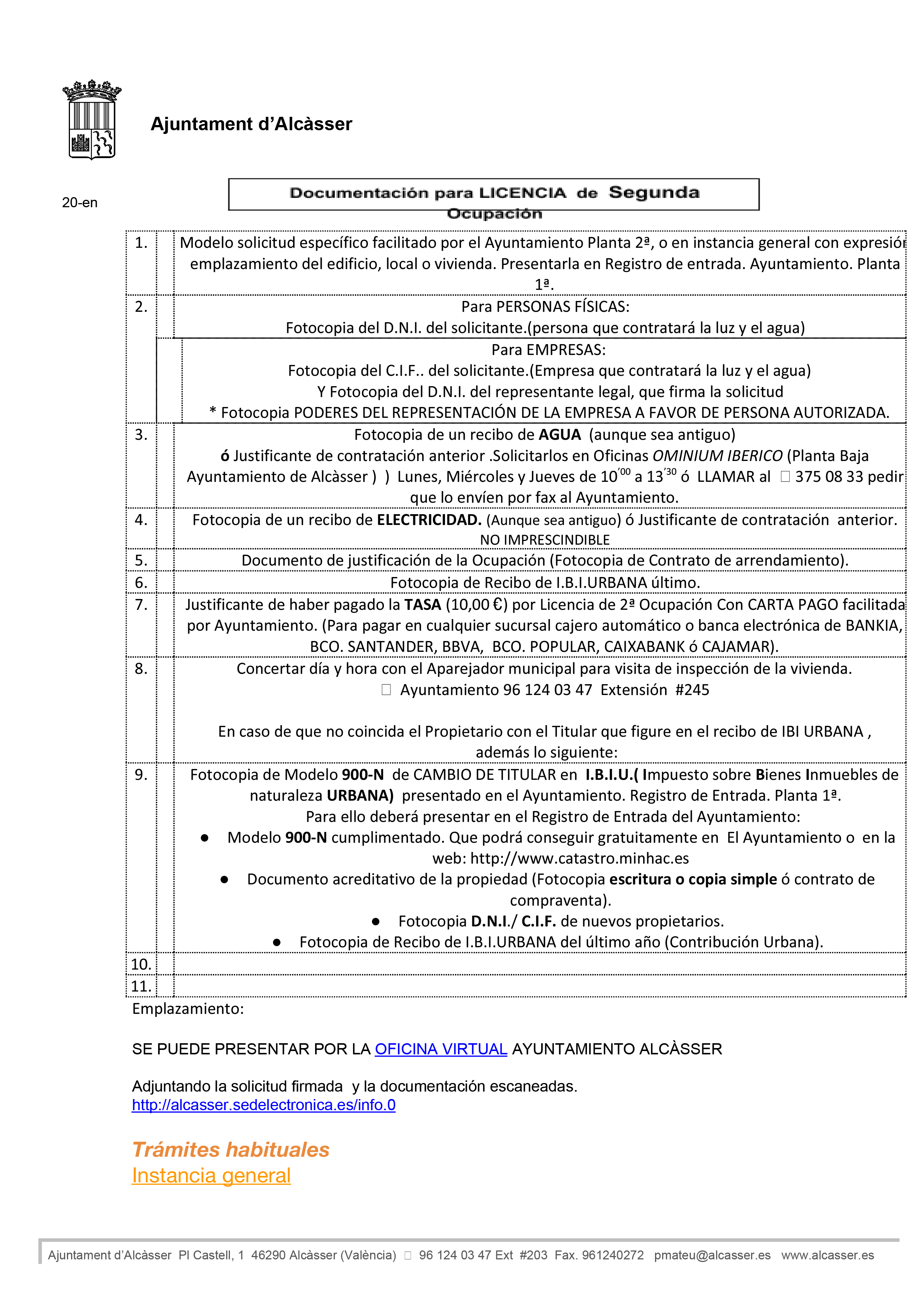 Impreso Declaración Responsable Segunda Ocupación - Alcasser 3