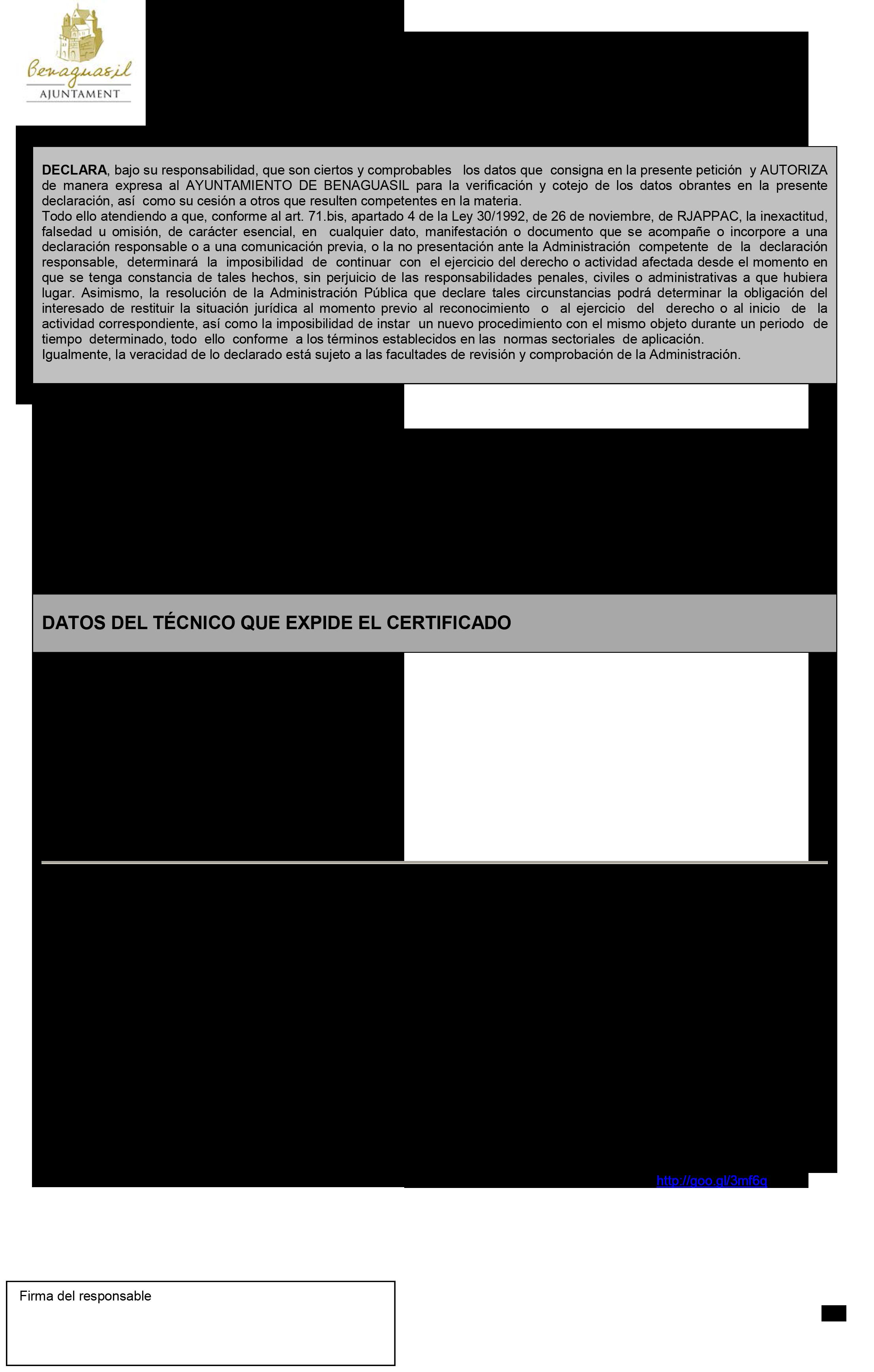 Impreso Declaración Responsable Segunda Ocupación - Benaguasil 3