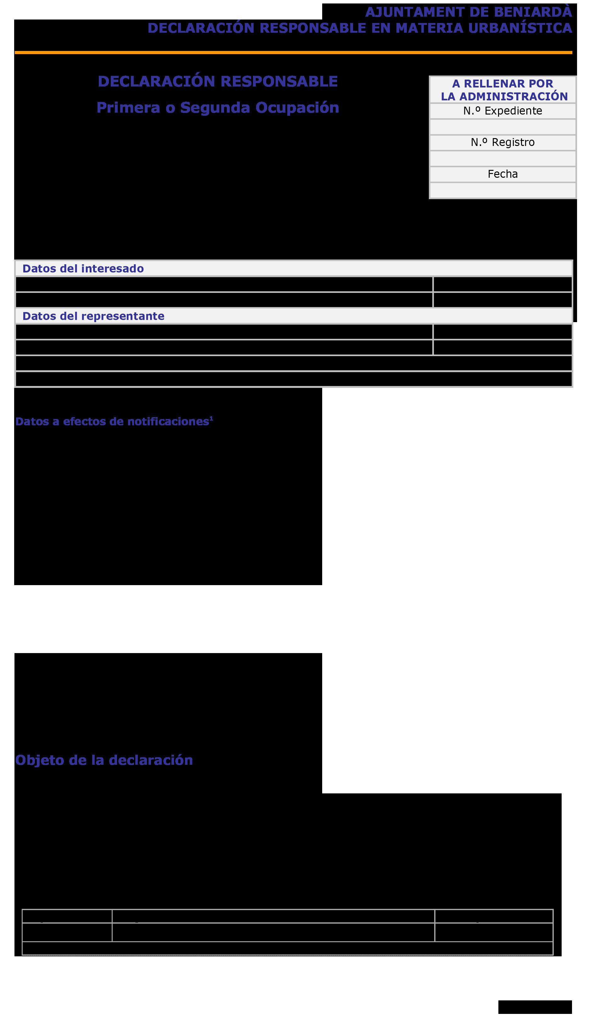 Impreso Declaración Responsable Segunda Ocupación - Beniardà 1