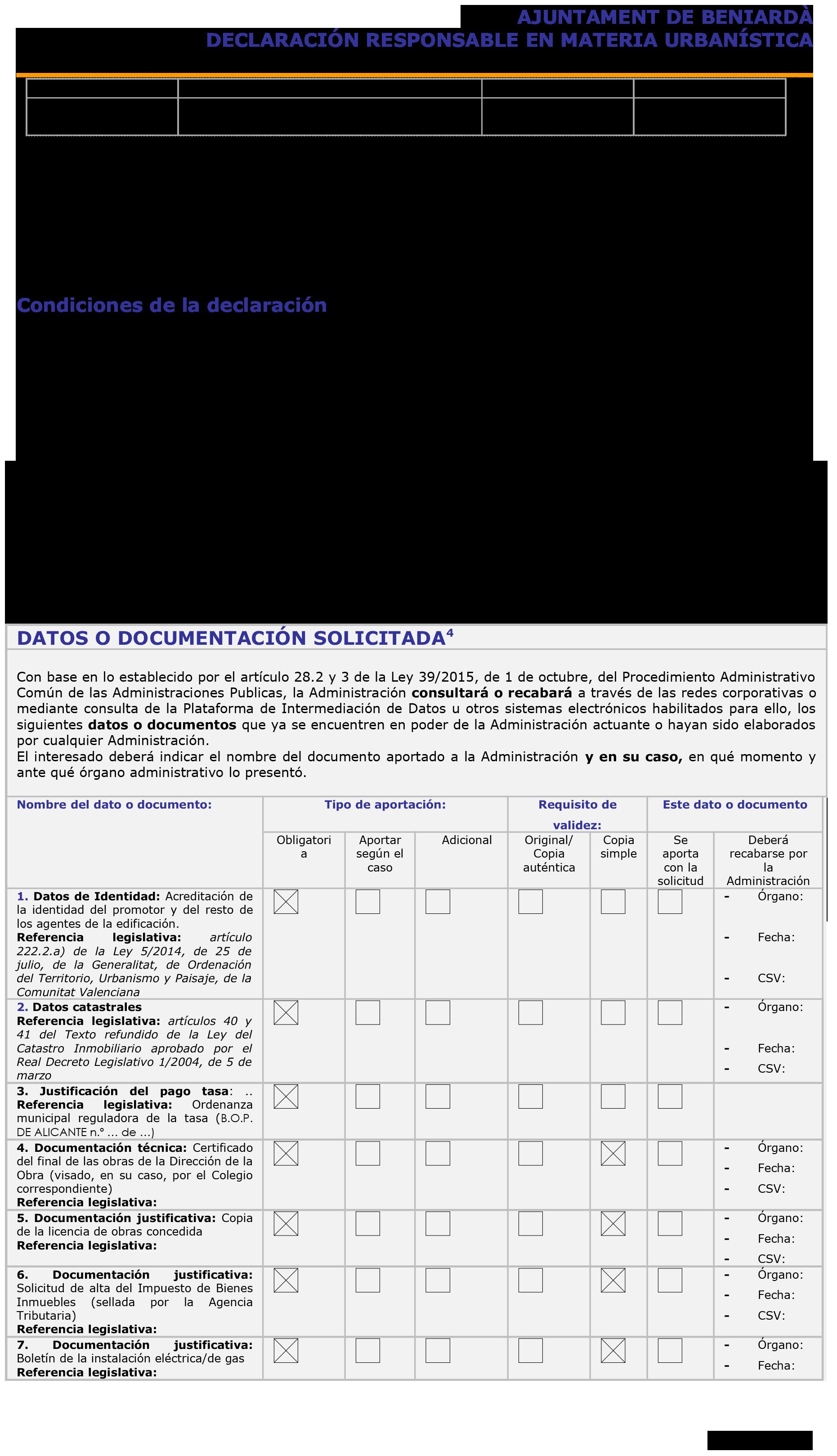 Impreso Declaración Responsable Segunda Ocupación - Beniardà 2