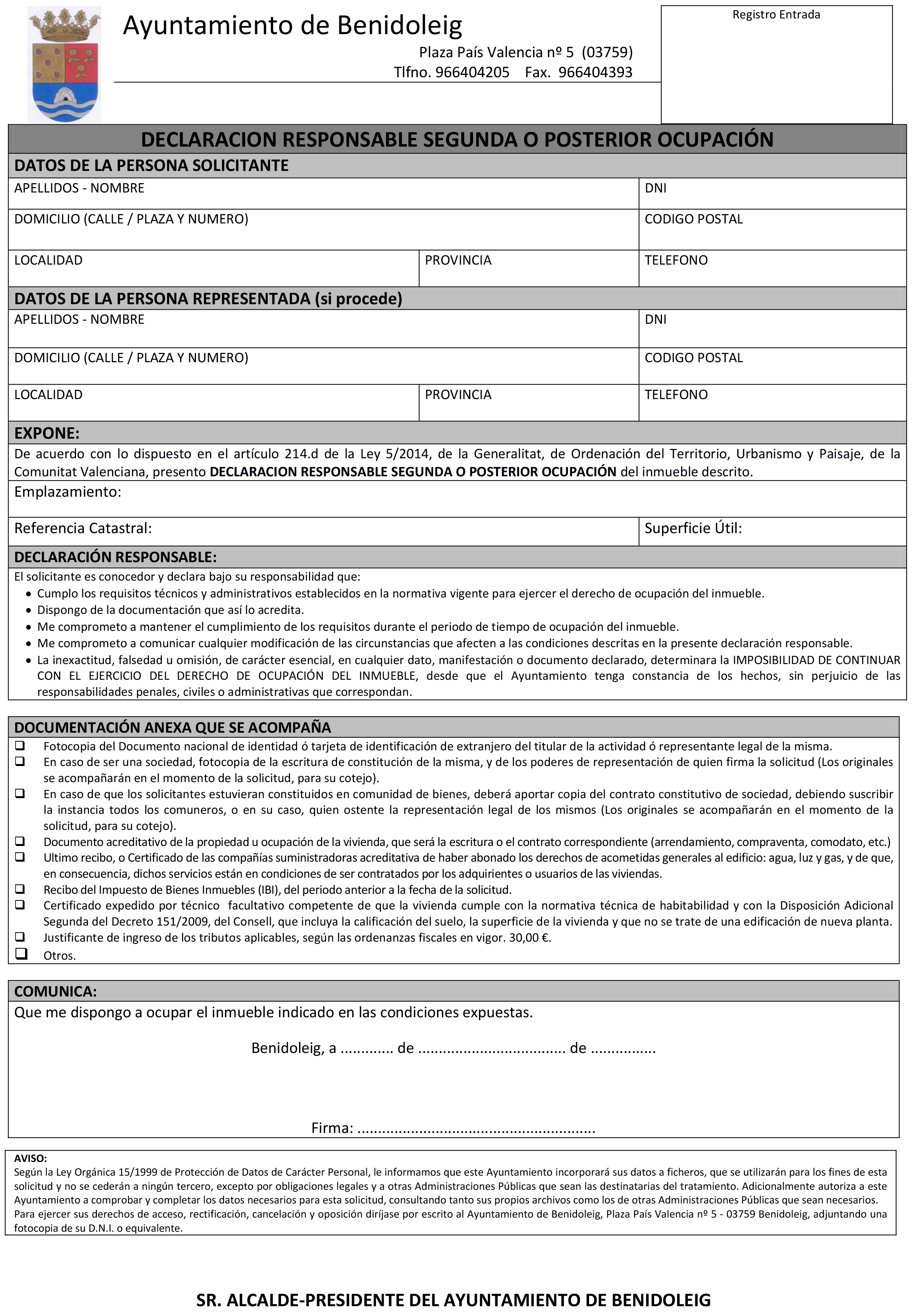 Impreso Declaración Responsable Segunda Ocupación - Benidoleig