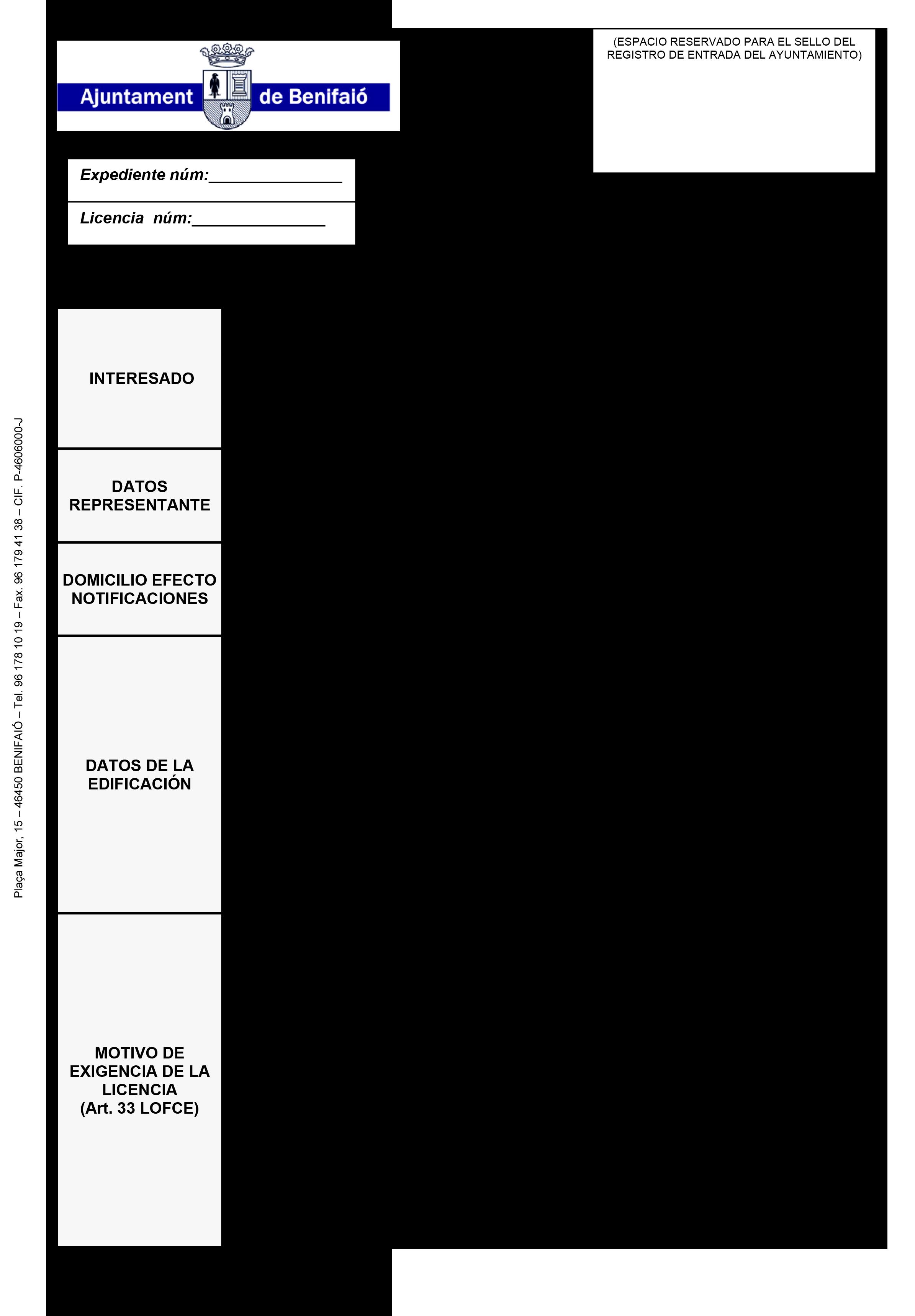 Impreso Declaración Responsable Segunda Ocupación - Benifaió 1