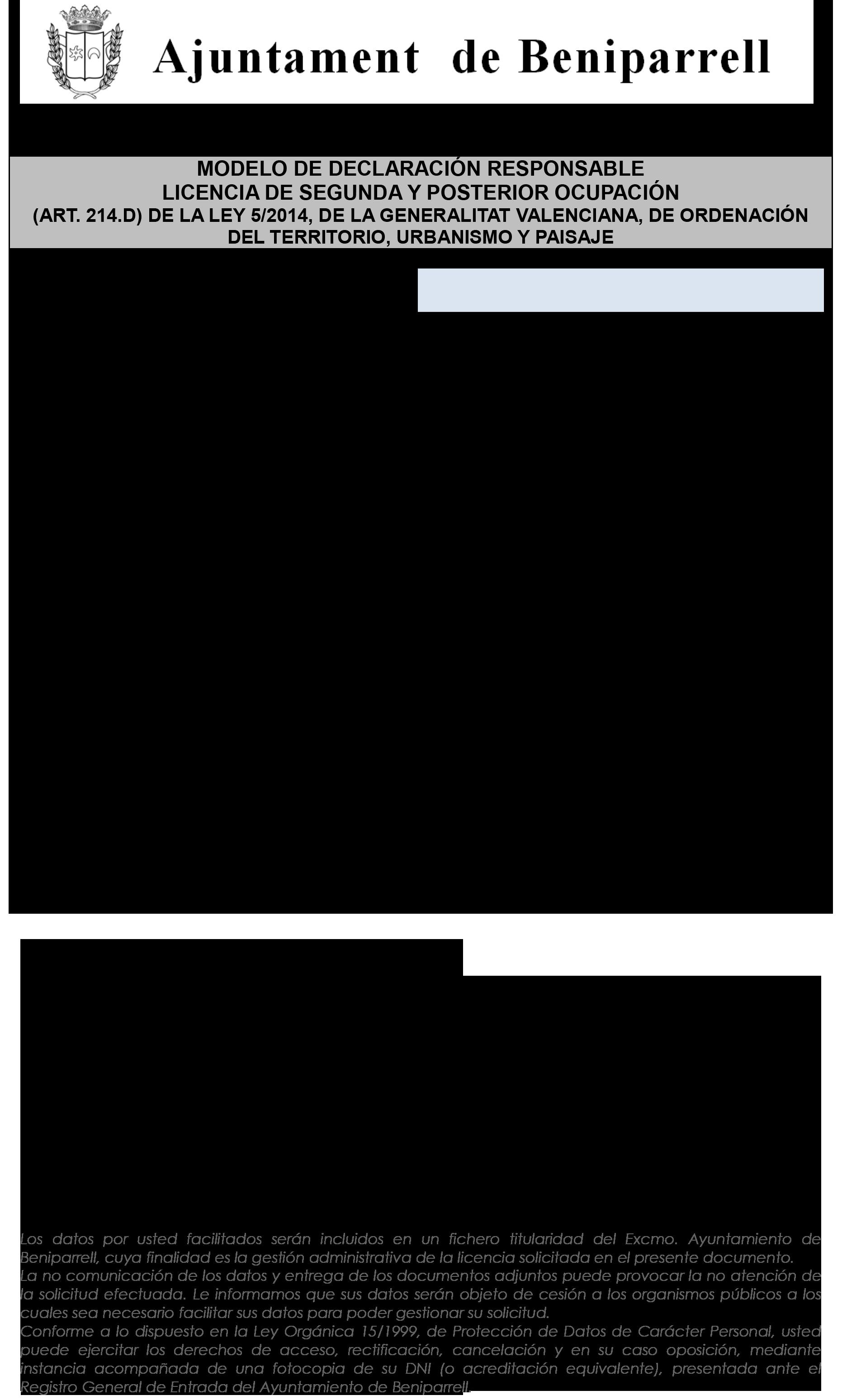 Impreso Declaración Responsable Segunda Ocupación - Beniparrell 1