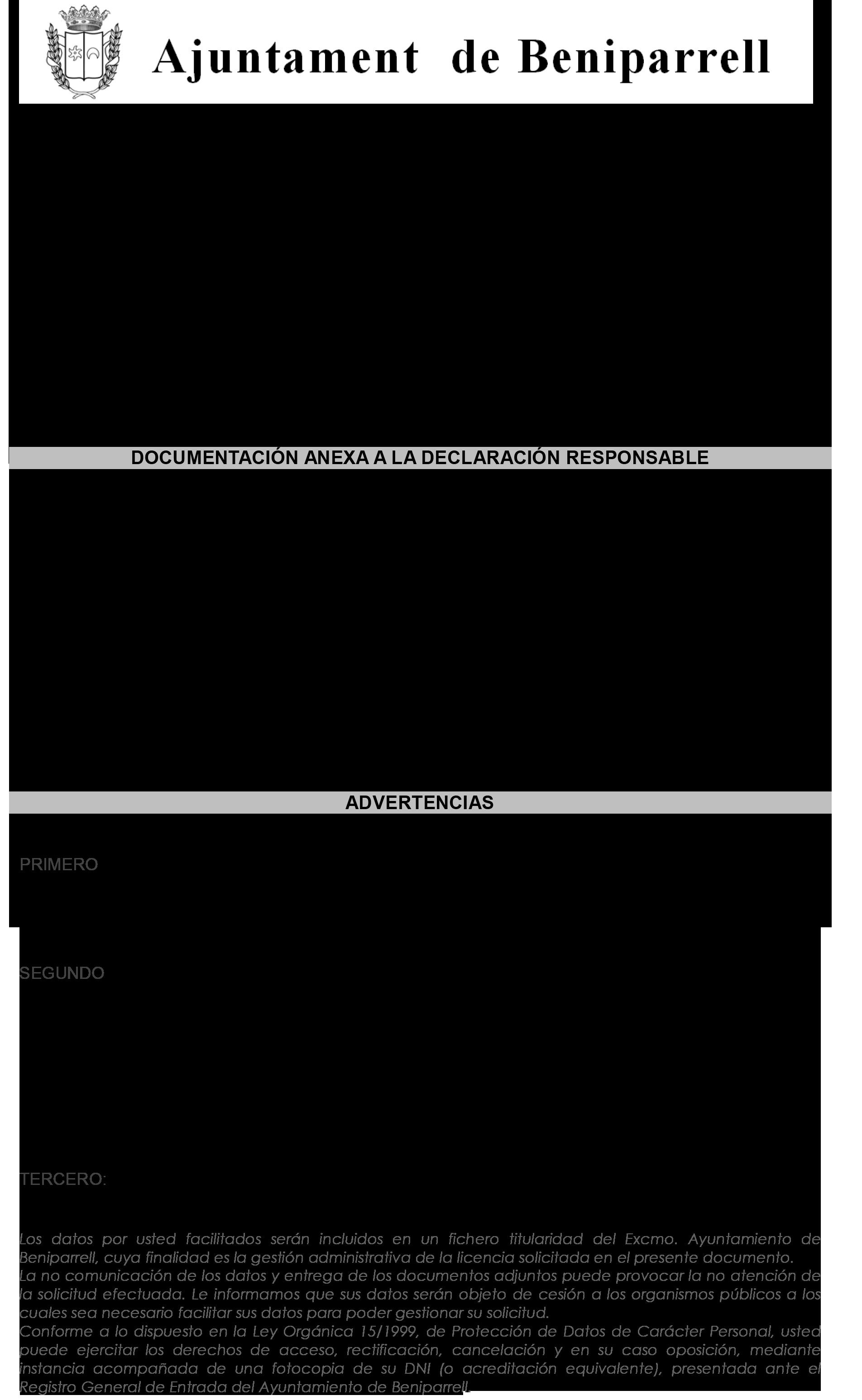 Impreso Declaración Responsable Segunda Ocupación - Beniparrell 3