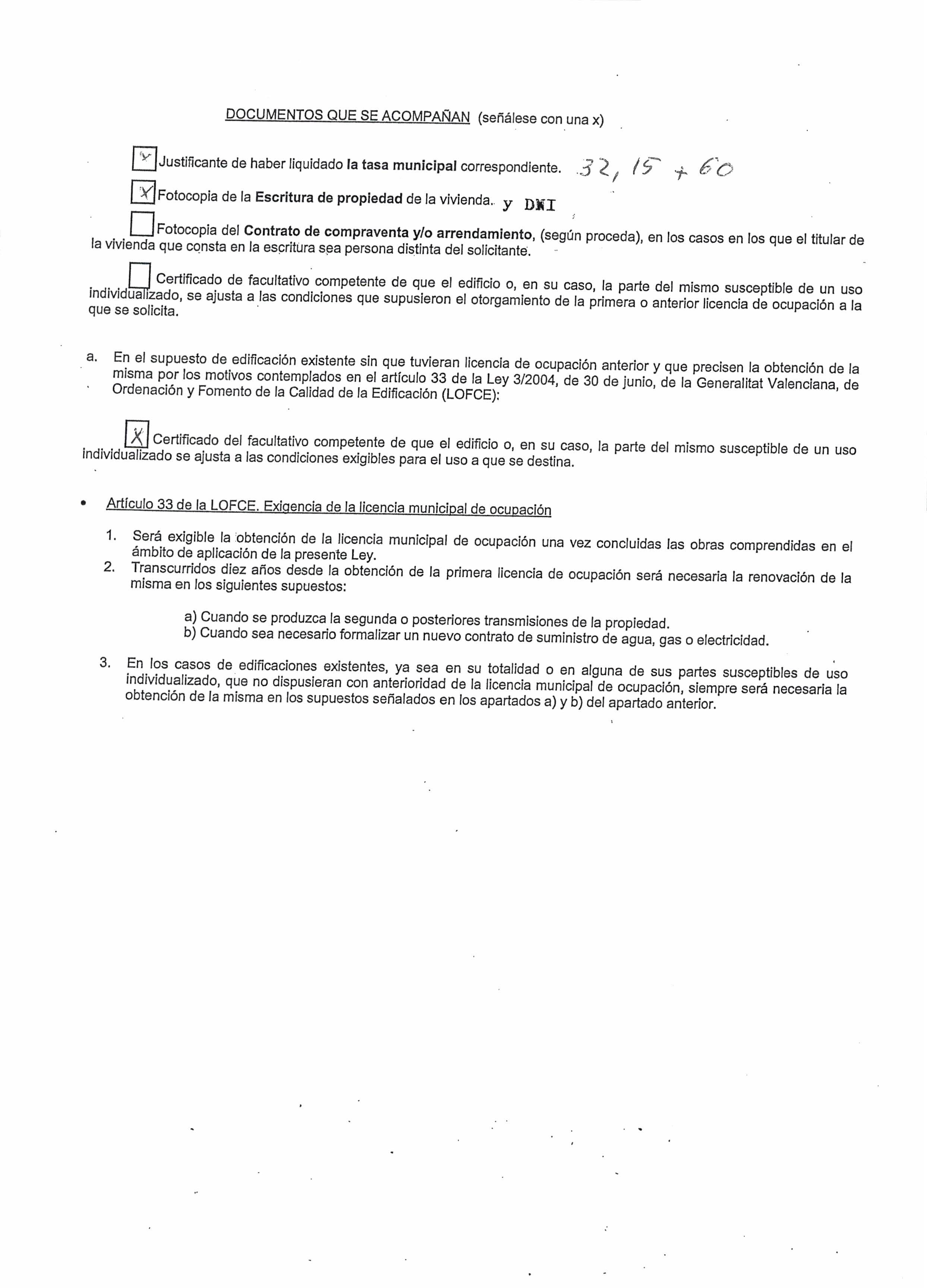 Impreso Declaración Responsable Segunda Ocupación - Catadau 2