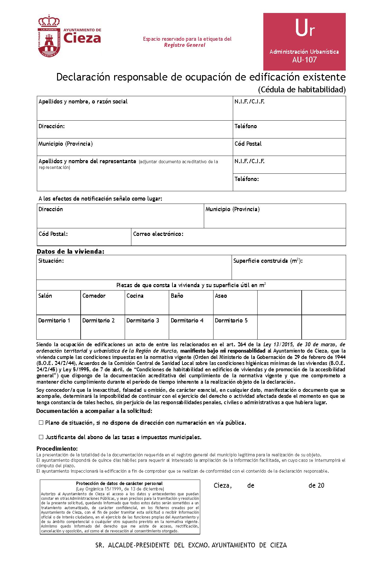 Impreso Declaración Responsable Segunda Ocupación Cieza