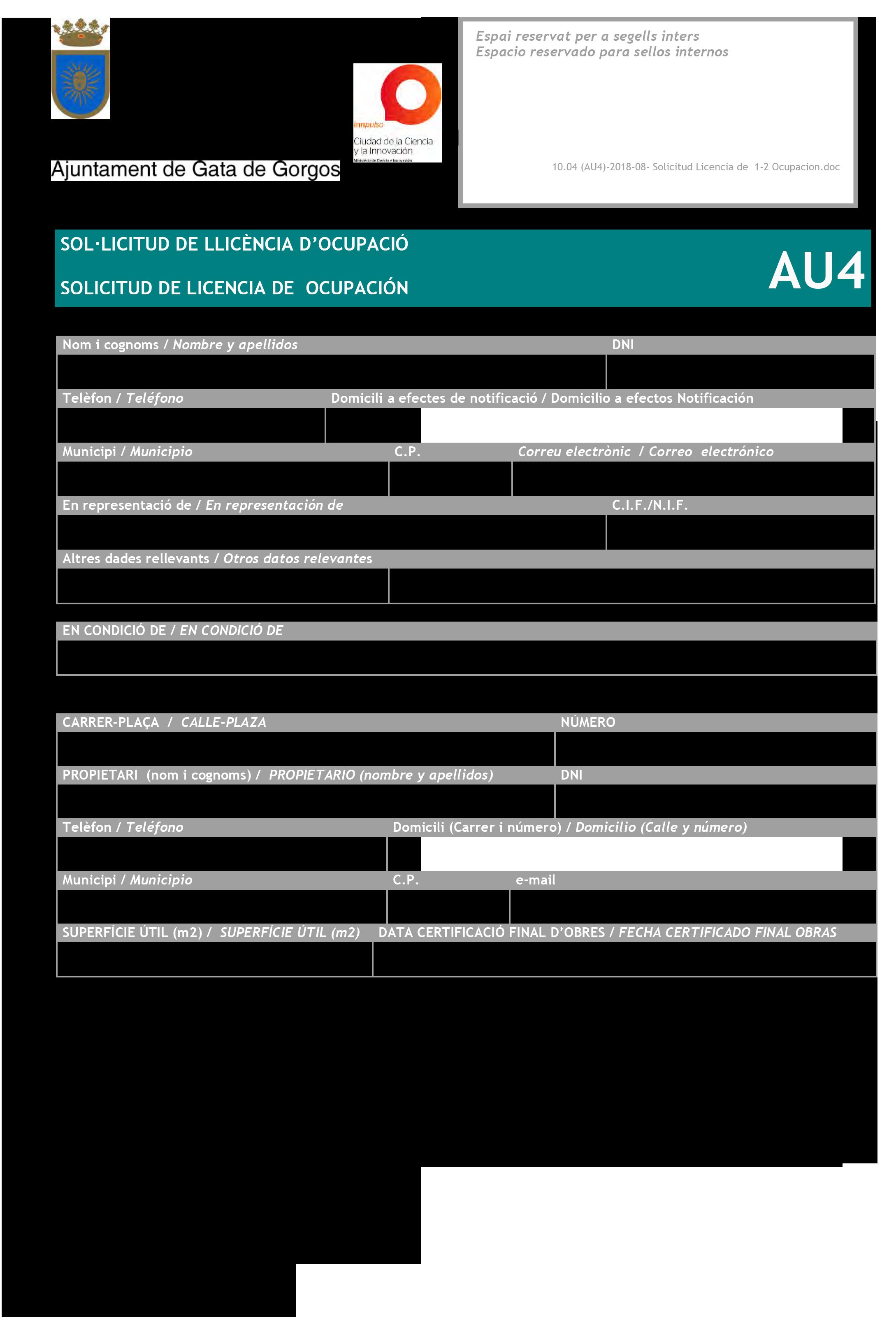 Impreso Declaración Responsable Segunda Ocupación - Gata de Gorgos 1