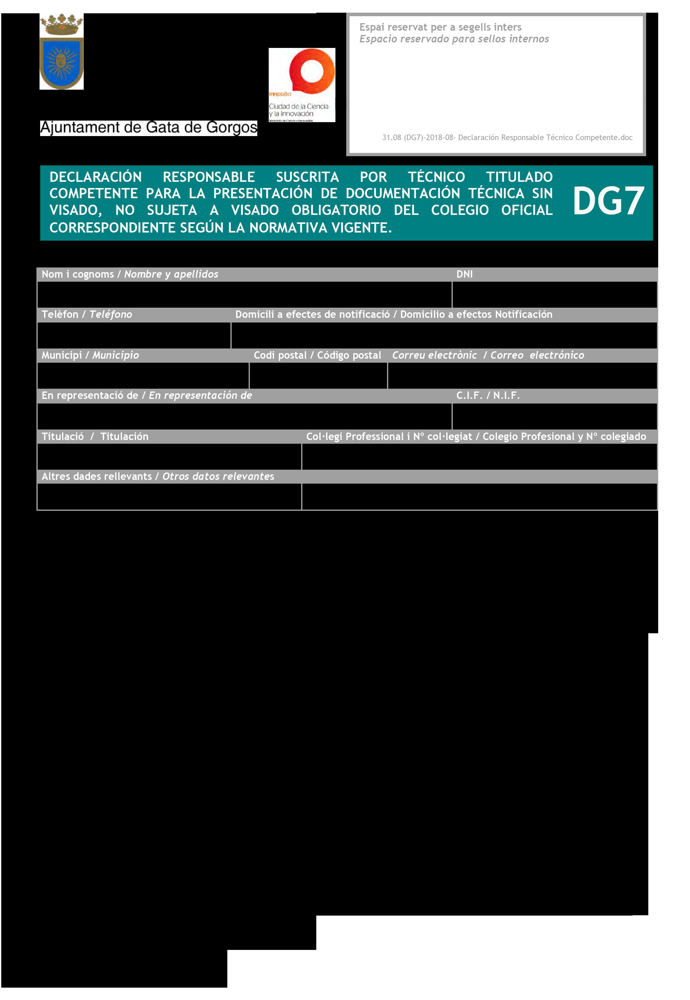 Impreso Declaración Responsable Segunda Ocupación - Gata de Gorgos 6