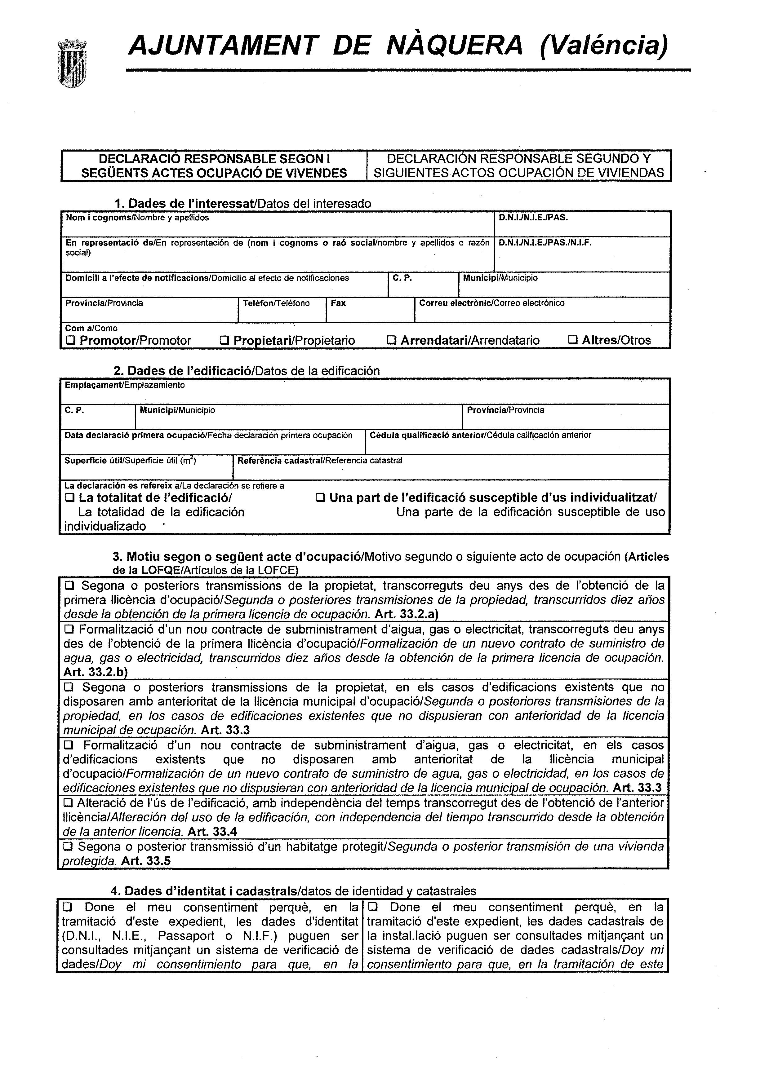 Impreso Declaración Responsable Segunda Ocupación - Náquera-1