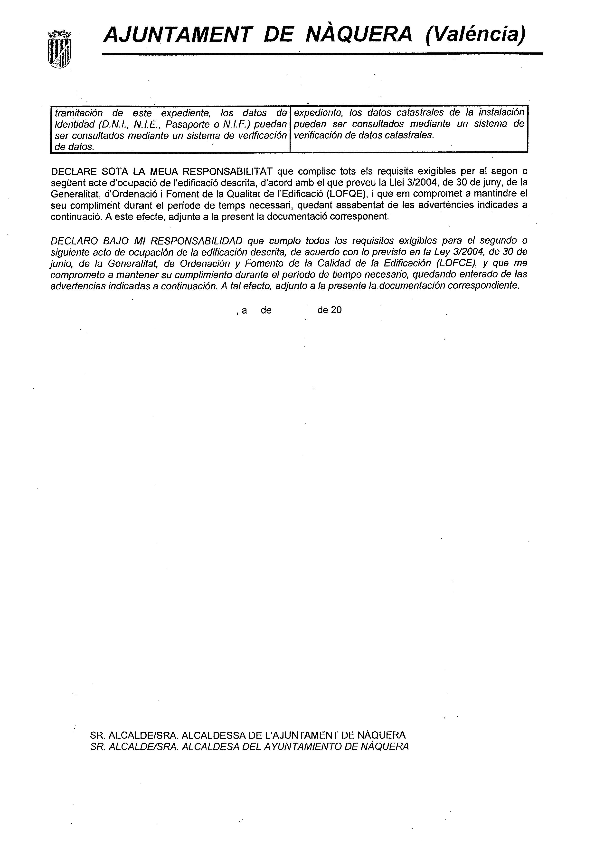 Impreso Declaración Responsable Segunda Ocupación - Náquera-2