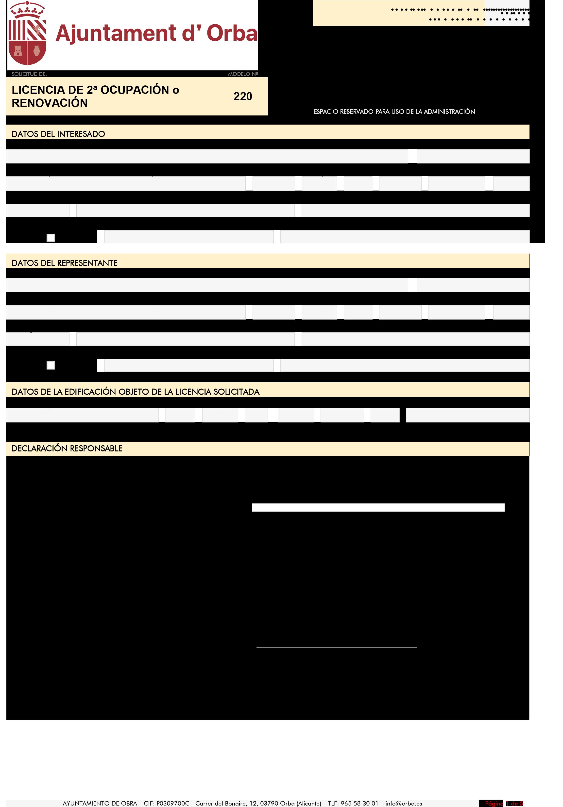 Impreso Declaración Responsable Segunda Ocupación - Orba-1