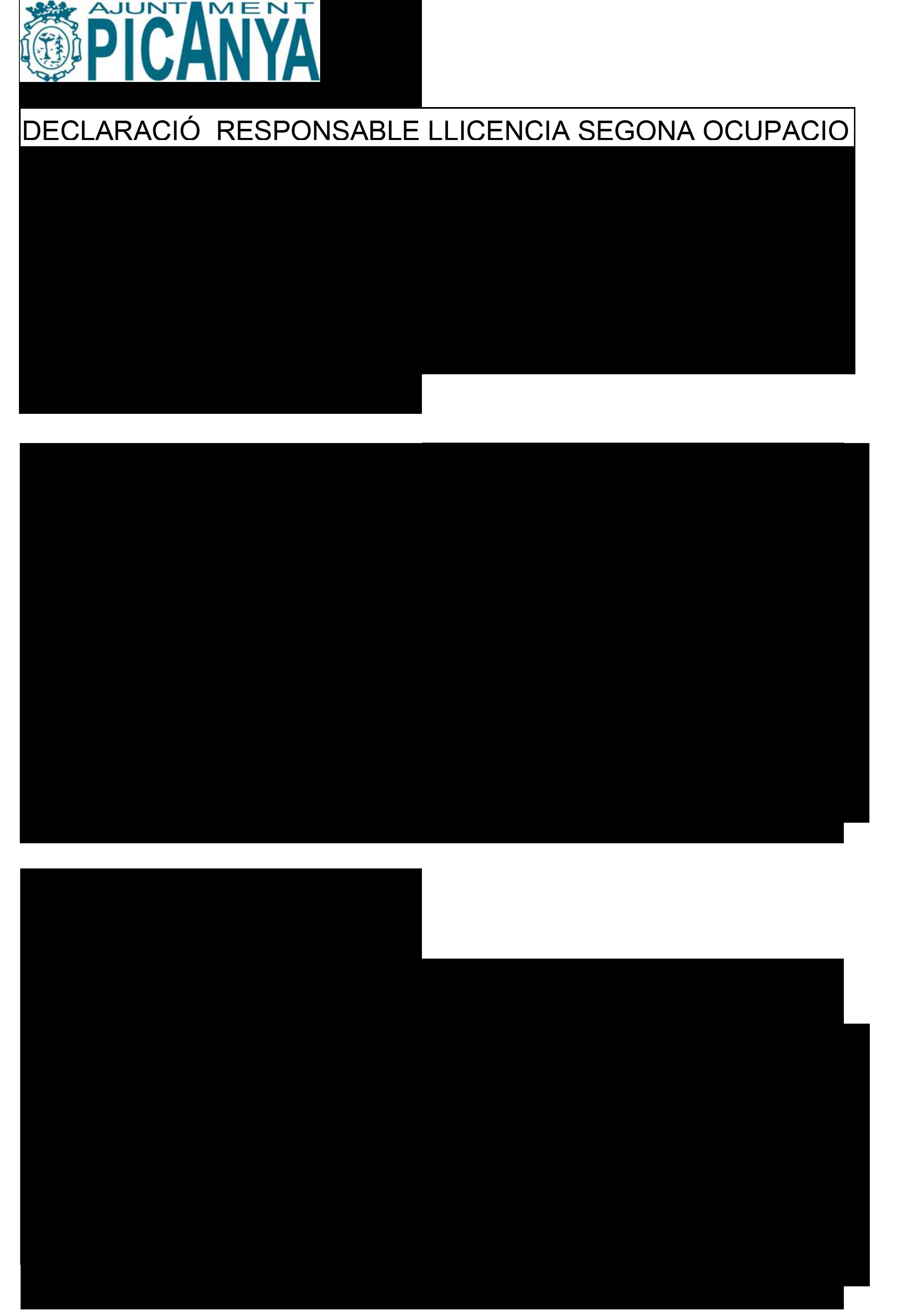 Impreso Declaración Responsable Segunda Ocupación - Picanya 1
