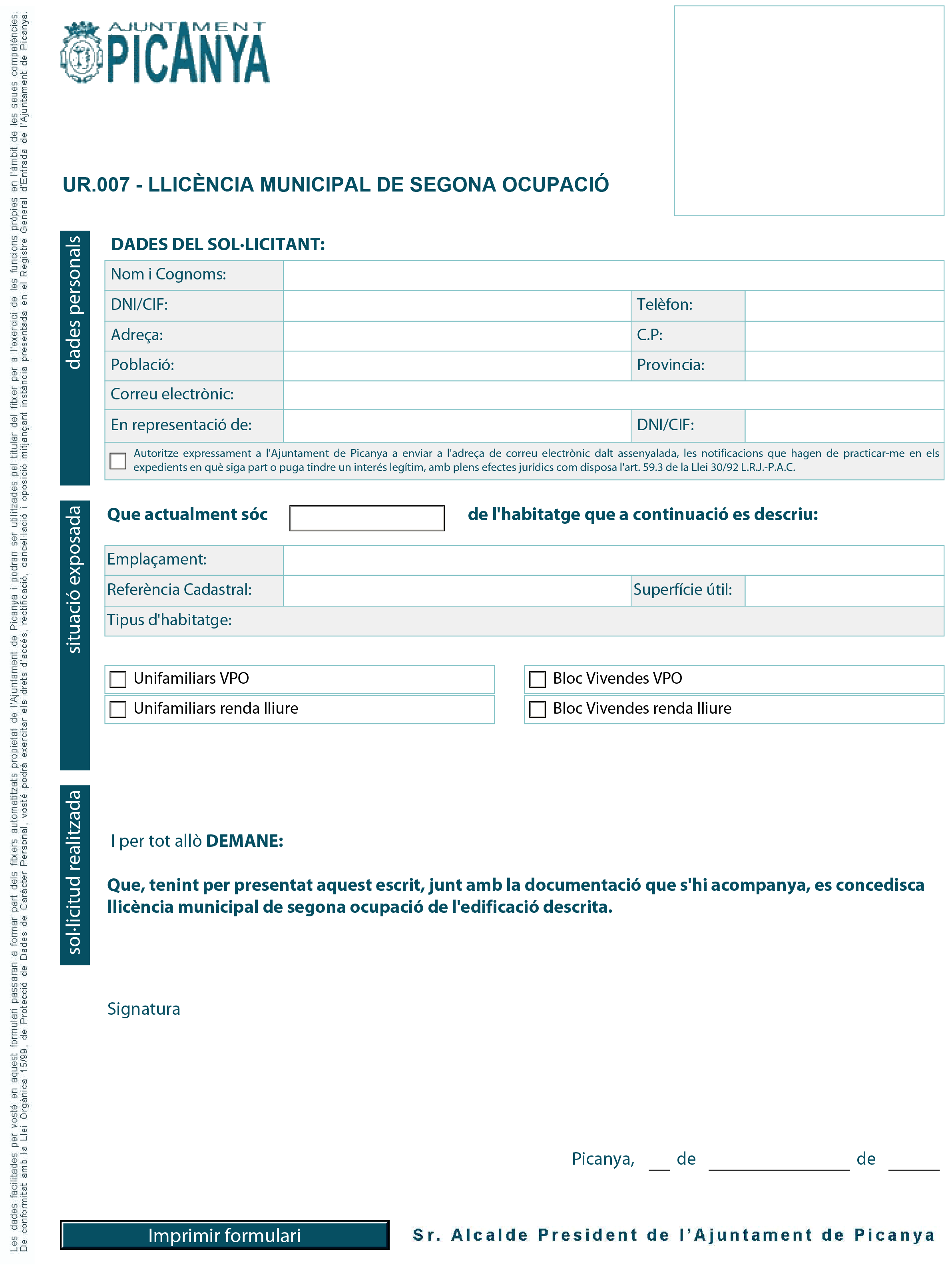 Impreso Declaración Responsable Segunda Ocupación - Picanya 2-1