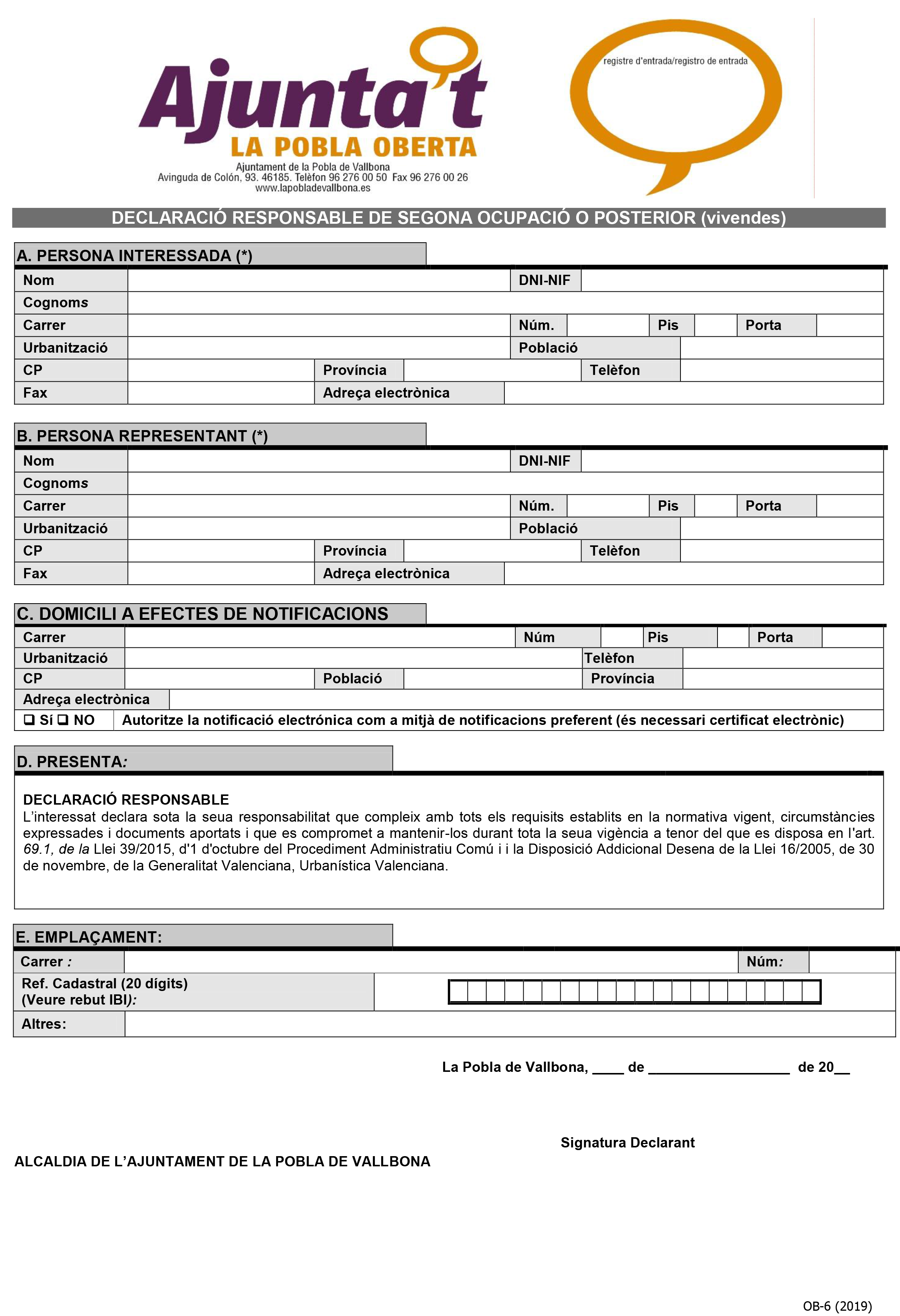 Impreso Declaración Responsable Segunda Ocupación - Pobla de Vallbona-1