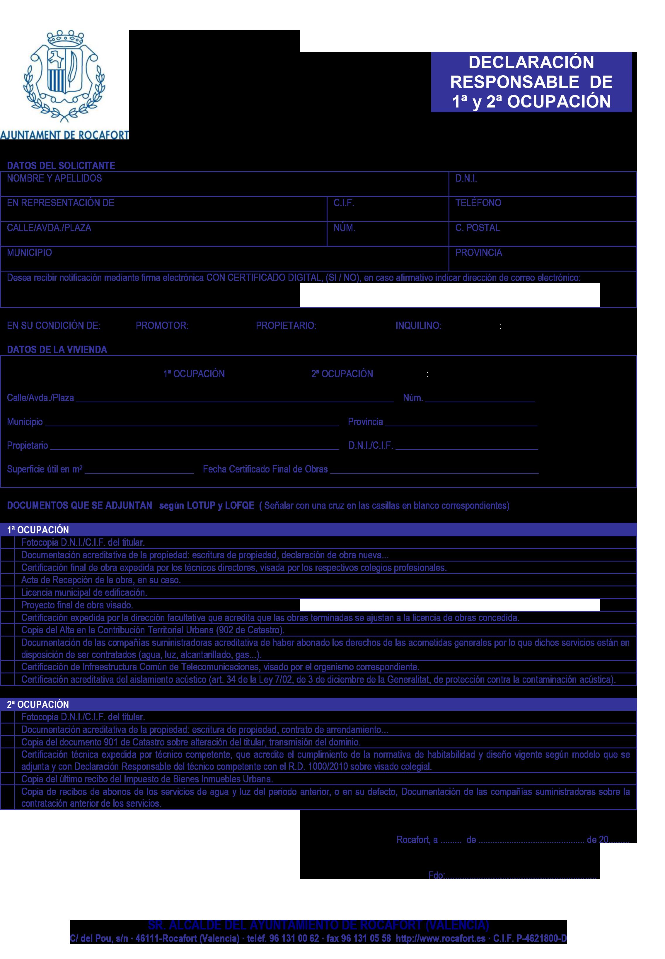 Impreso Declaración Responsable Segunda Ocupación - Rocafort