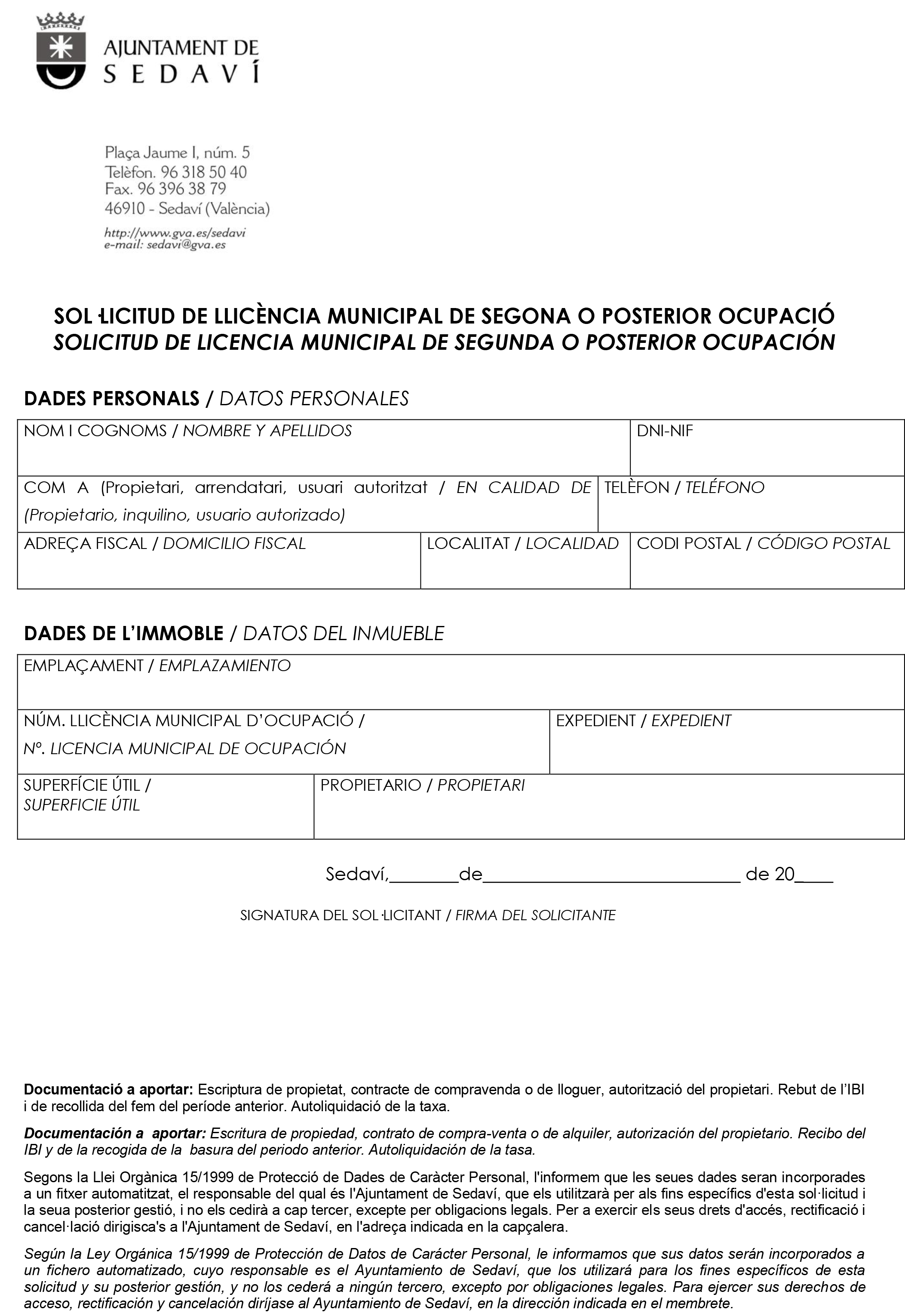 Impreso Declaración Responsable Segunda Ocupación - Sedaví