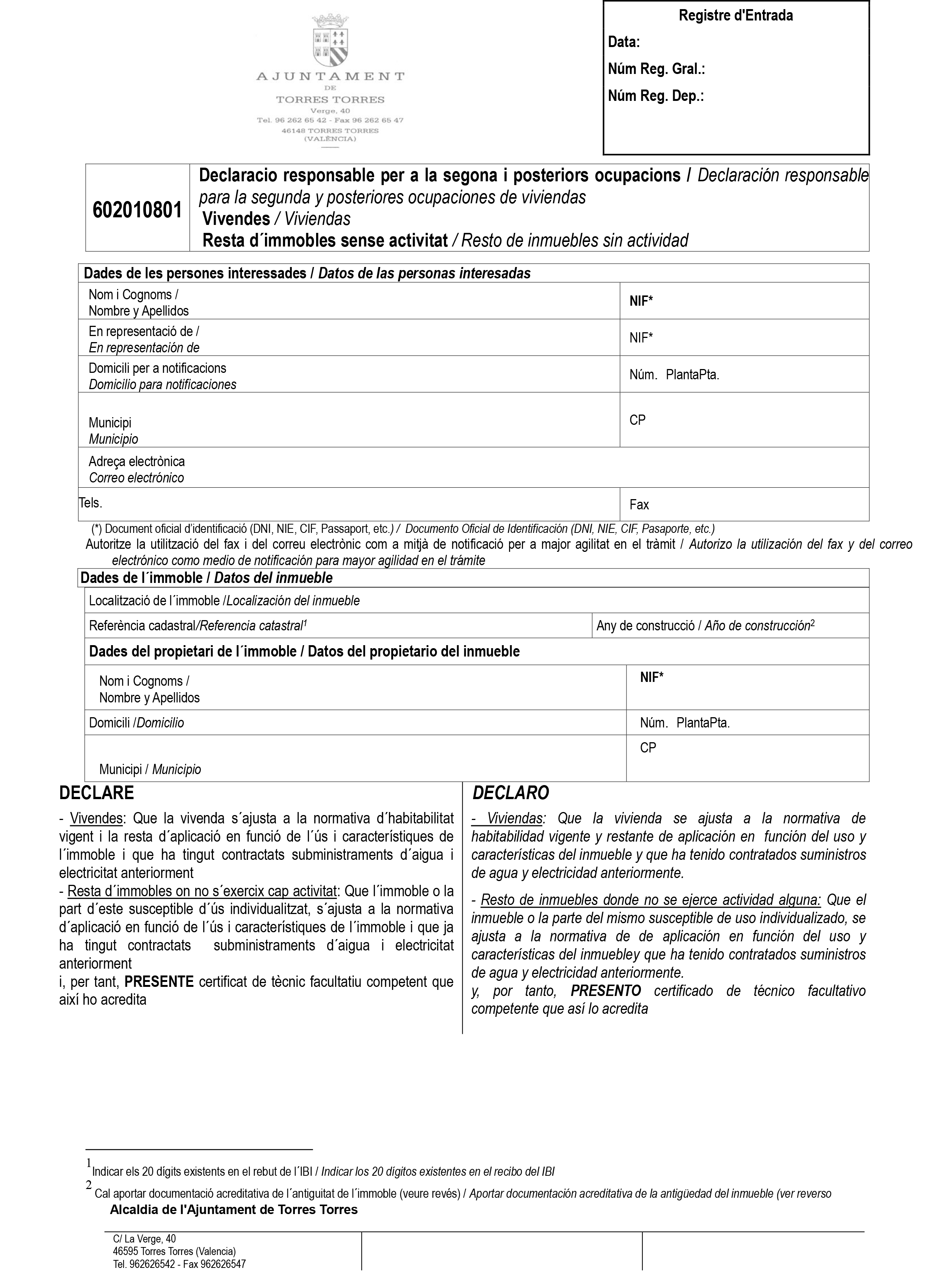 Impreso Declaración Responsable Segunda Ocupación - Torres Torres-1