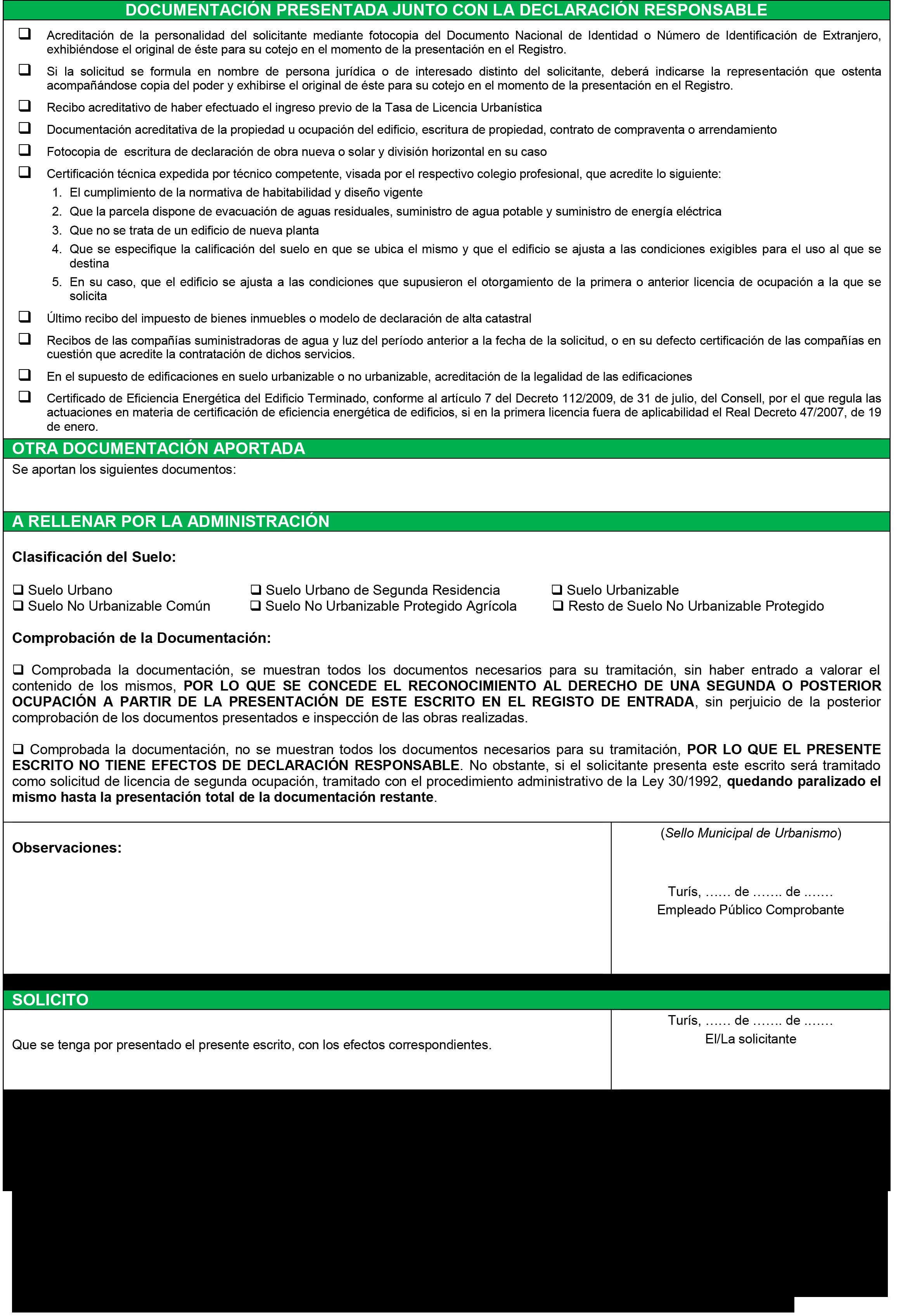 Impreso Declaración Responsable Segunda Ocupación - Turís-2